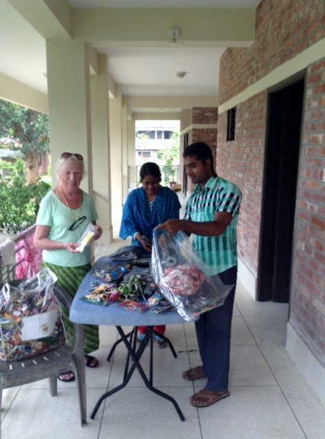 Rubina Porter MBE with some threads which have been donated to Sreepur Village