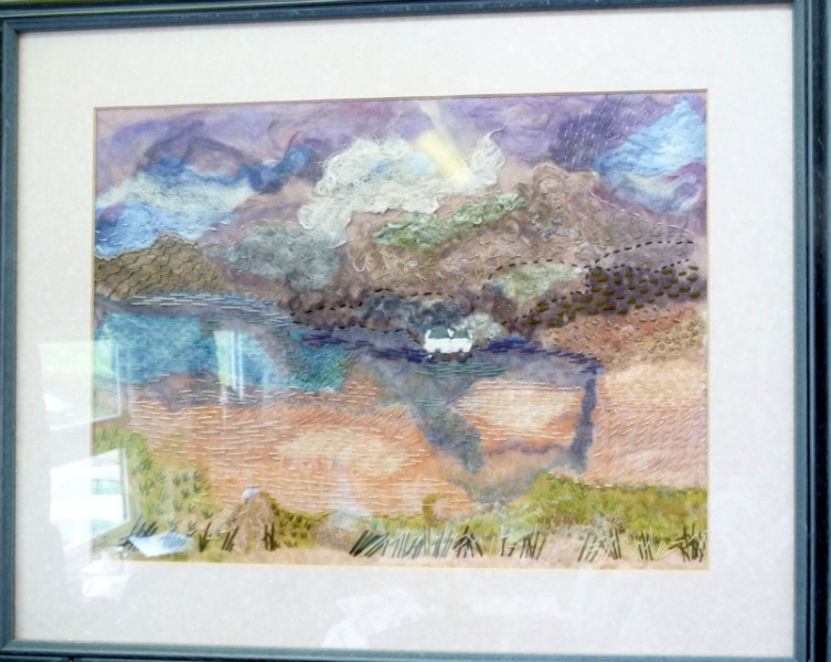 Clashnessnie Beach, embroidery and silk paper by Val Rogan