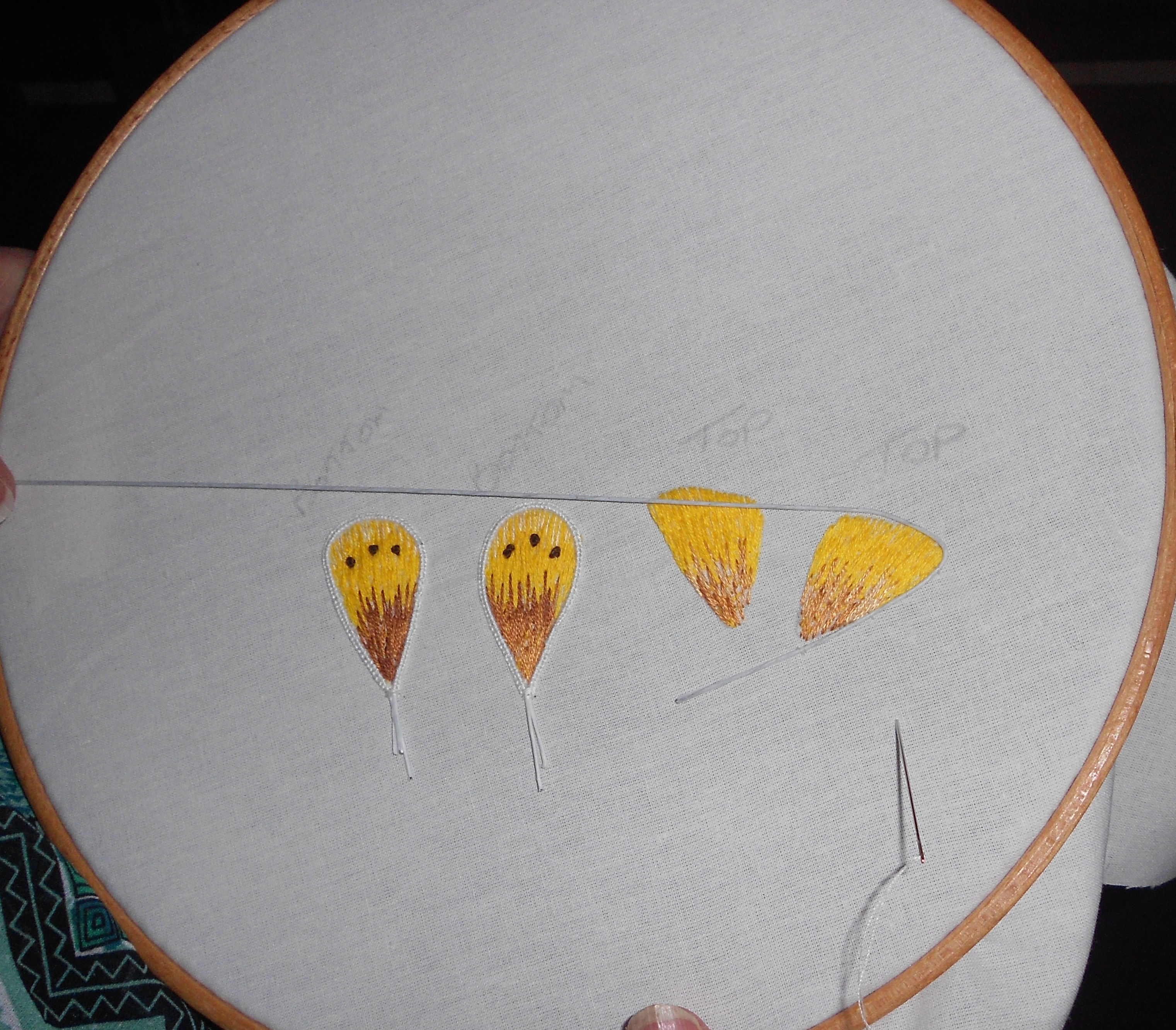 Student sample stumpwork butterfly workshop