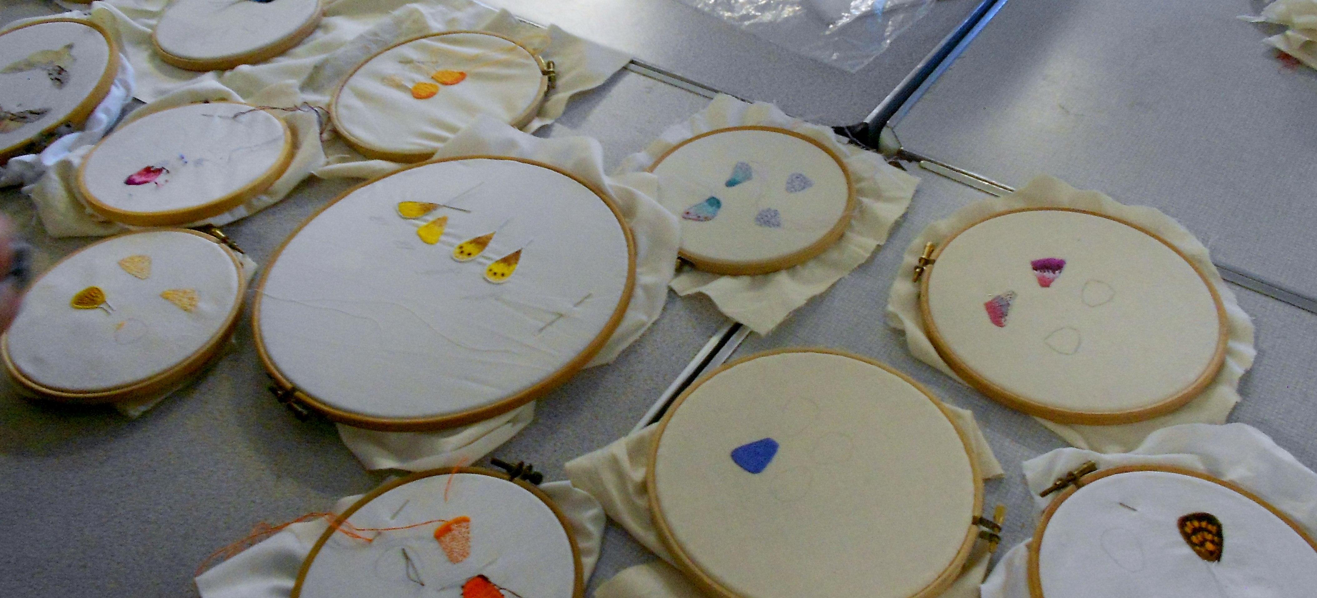 Students sample stumpwork butterfly workshop