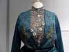 (detail) DAY DRESS, silk with embroidered detail, made by Cosprop, 2009. Worn by Dame Maggie Smith as Dowager Countess of Grantham in Downton Abbey
