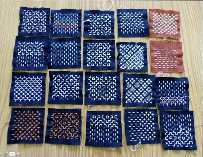 samples of sashiko by Susan Briscoe,Talk by Susan Briscoe about Sashiko, March 2021