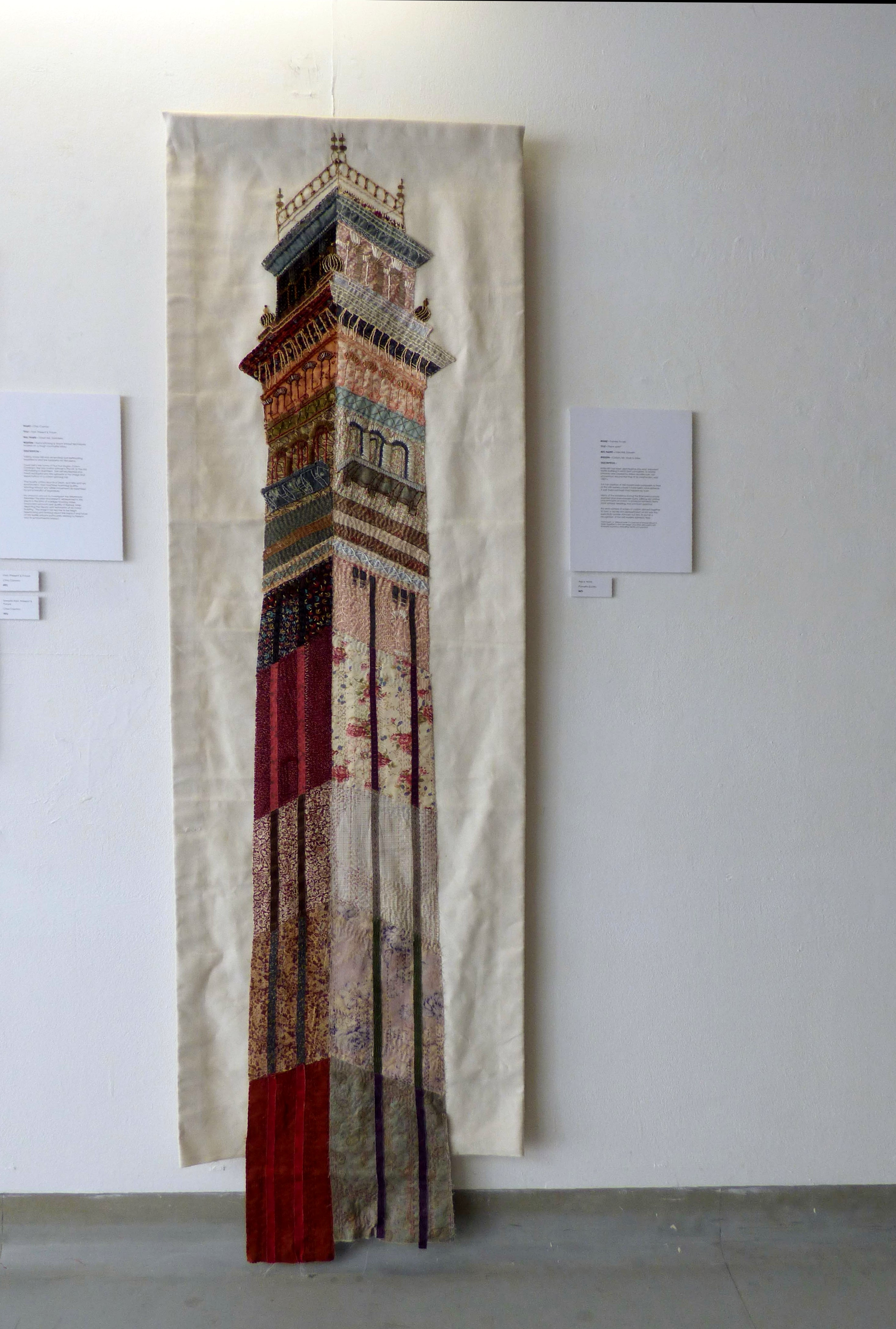 """PIECE WORK, India Mill Darwen,by Pamela Eccles, cotton, silk, wool and glass, """"Synergy"""" exhibition by Preston Threads, July 2021"""