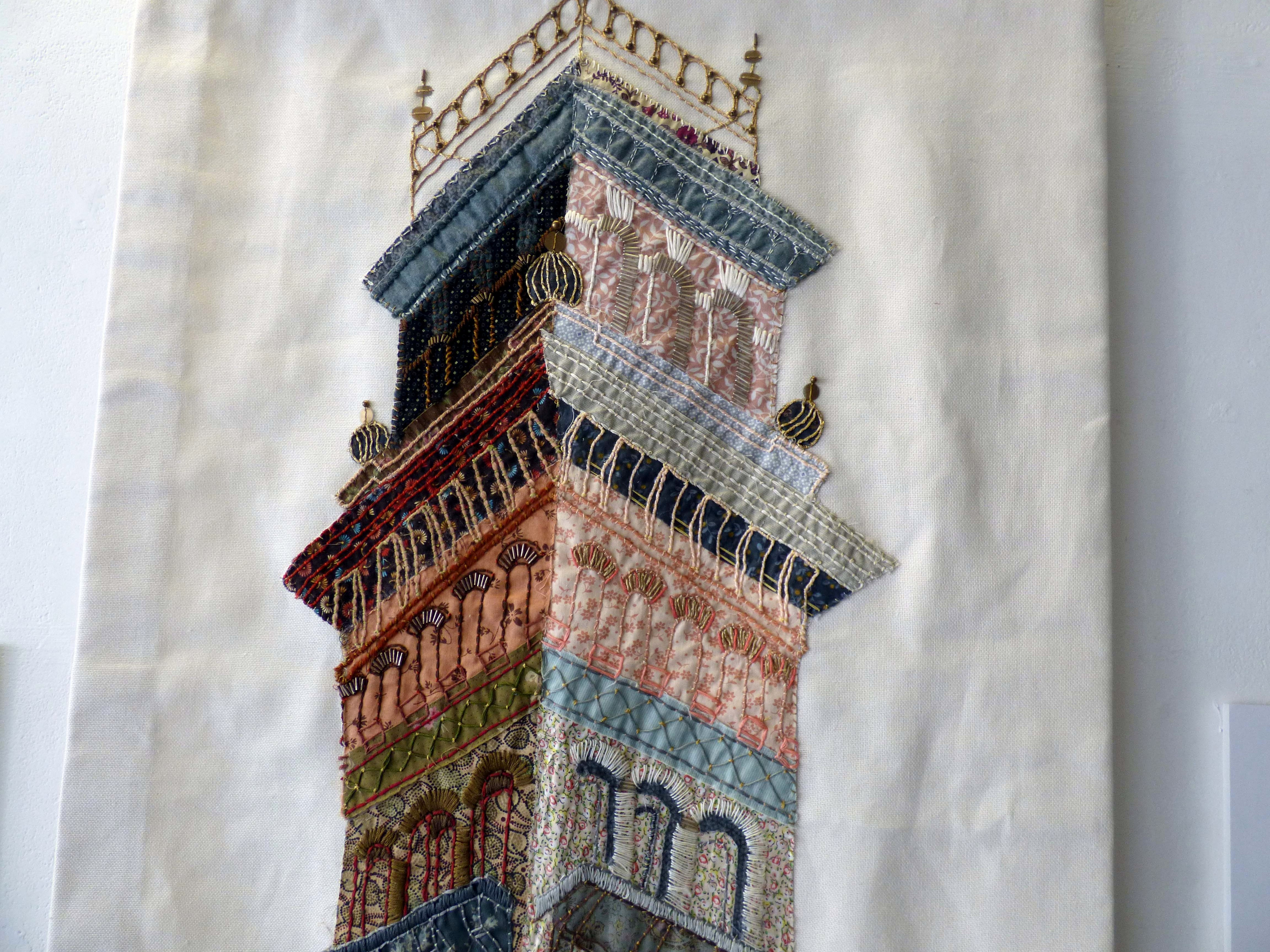 """(detail) PIECE WORK, India Mill Darwen,by Pamela Eccles, cotton, silk, wool and glass, """"Synergy"""" exhibition by Preston Threads, July 2021"""