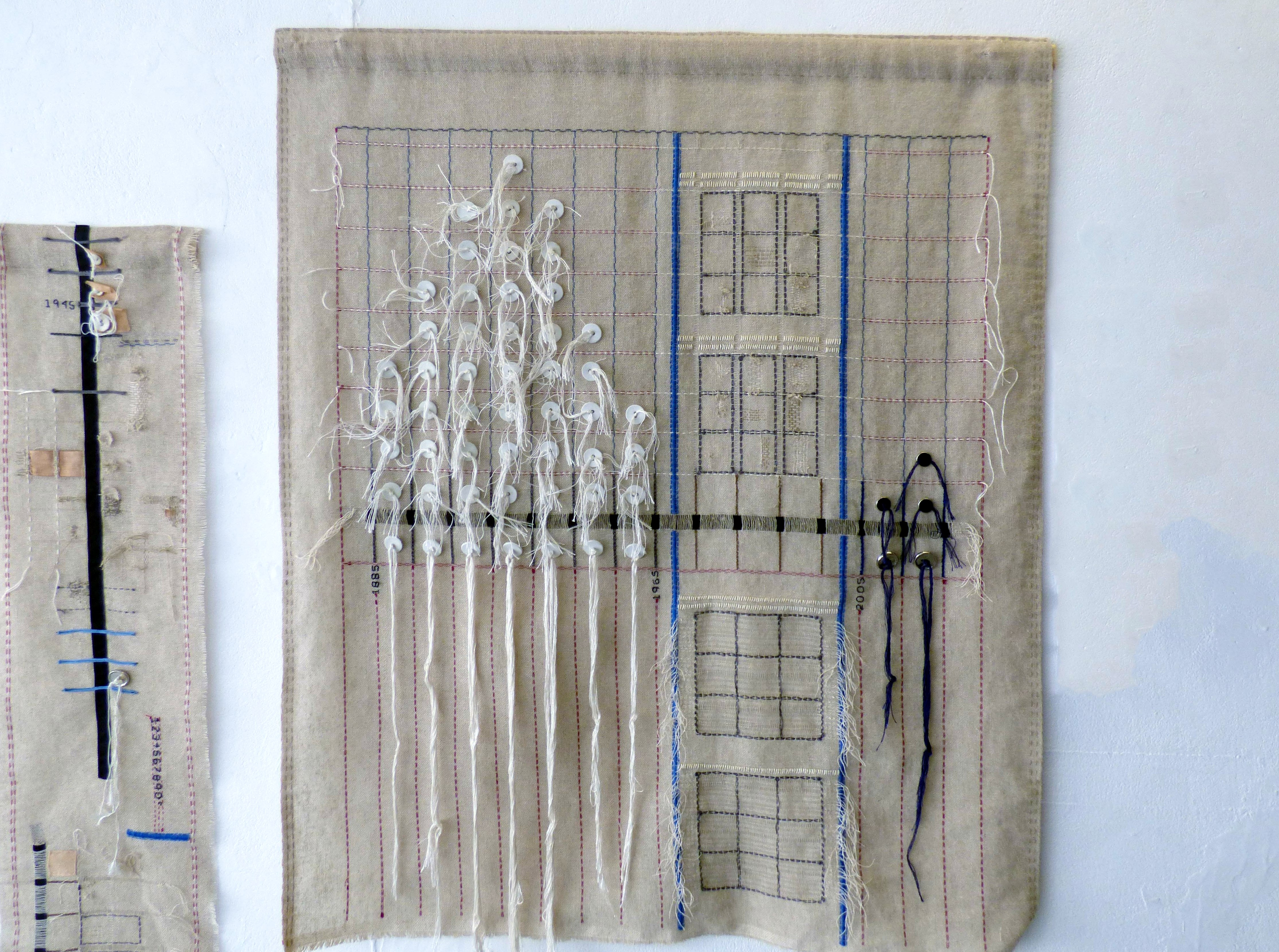 """PAST, PRESENT AND FUTURE, Tower Mill, Duckinfield by Chris Cannon, hand stitching & drawn thread techniques worked on a rough countable surface, """"Synergy"""" exhibition by Preston Threads, July 2021"""