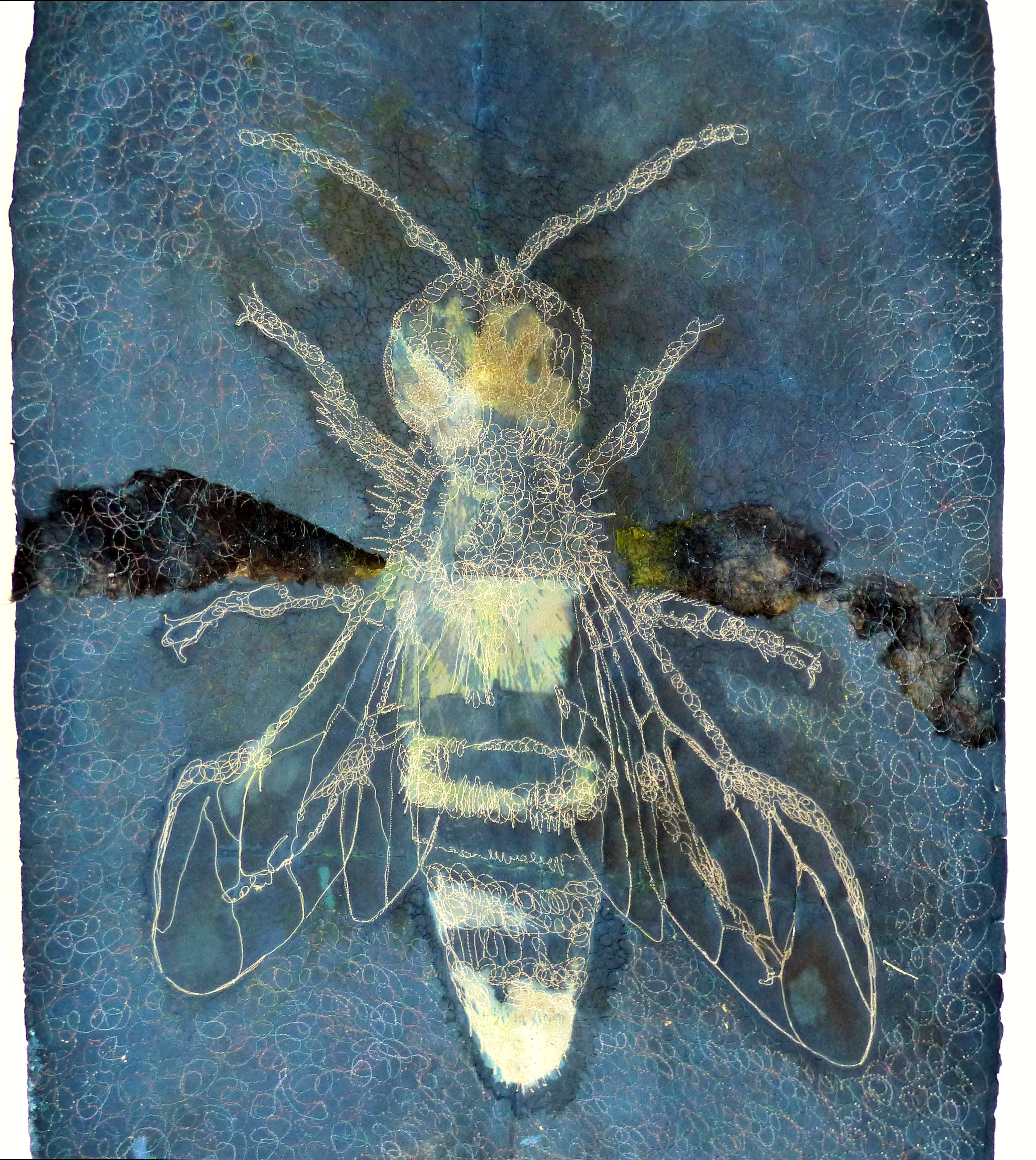 """WORKER BEE by Susan Syddall, cynotype on paper with machine stitch,  """"Synergy"""" exhibition by Preston Threads, July 2021"""