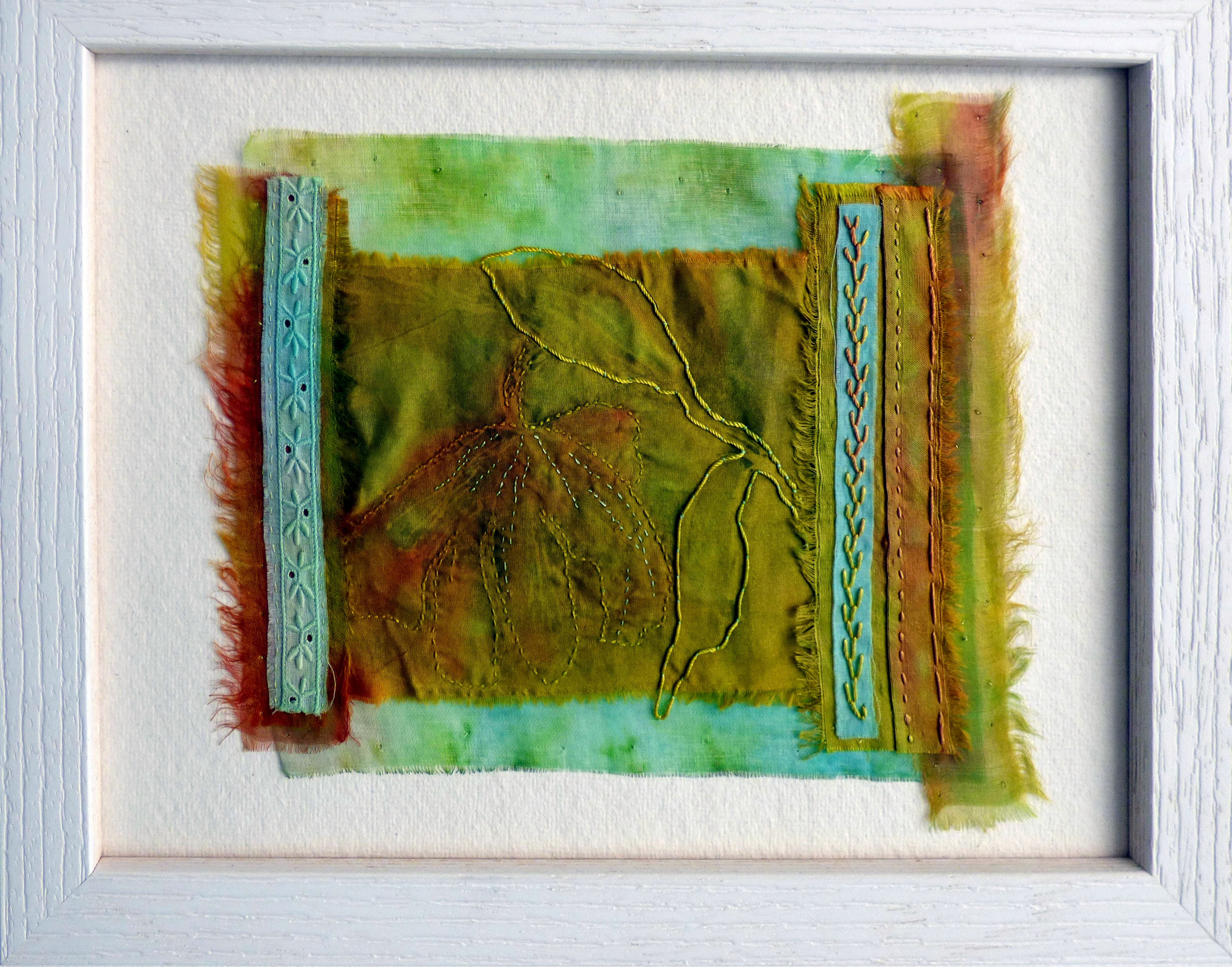 """IN THE GARDEN: HELLEBORE 2 by Chris Cannon, print , dye, hand stitching, """"Synergy"""" exhibition by Preston Threads, July 2021"""