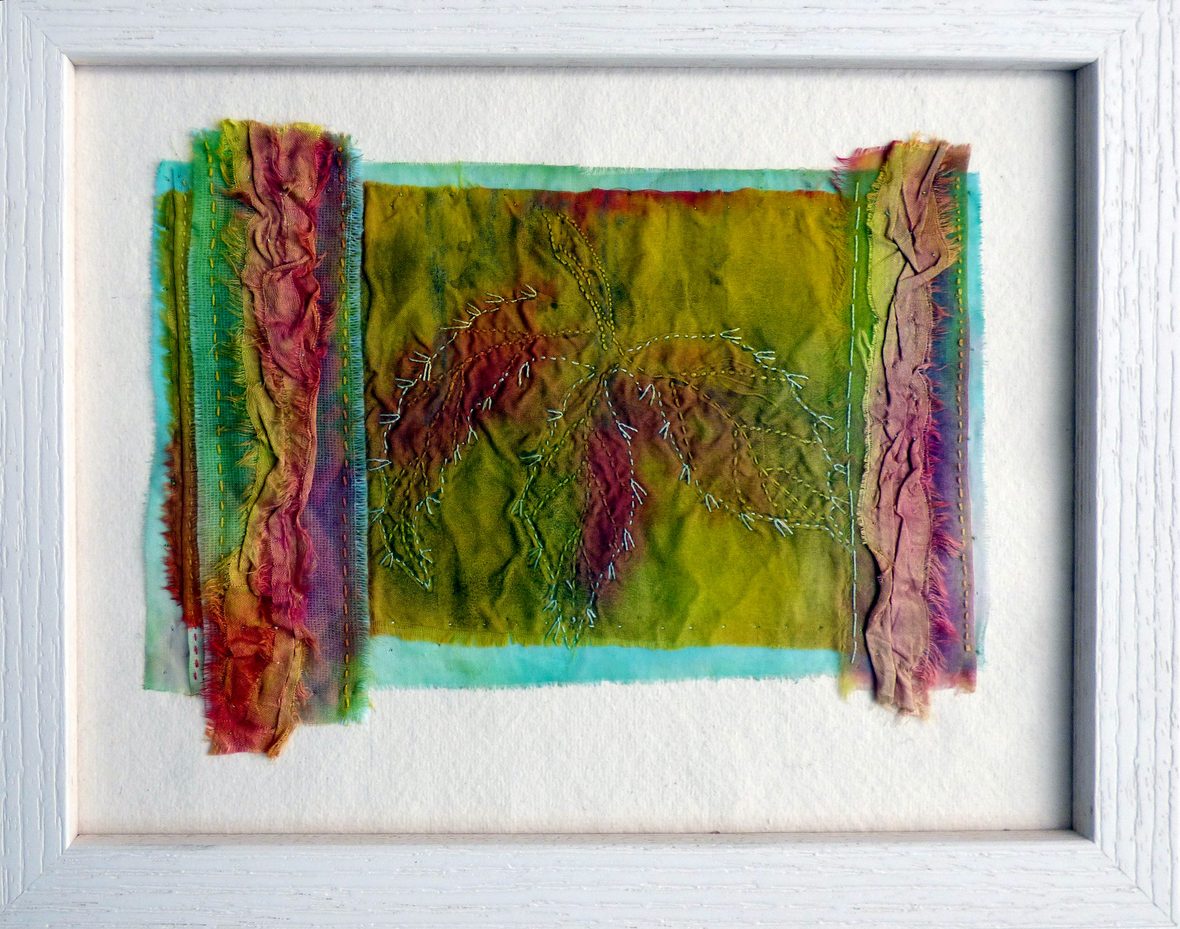 """IN THE GARDEN: LEAVES by Chris Cannon, print, dye, hand stitching, """"Synergy"""" exhibition by Preston Threads, July 2021"""