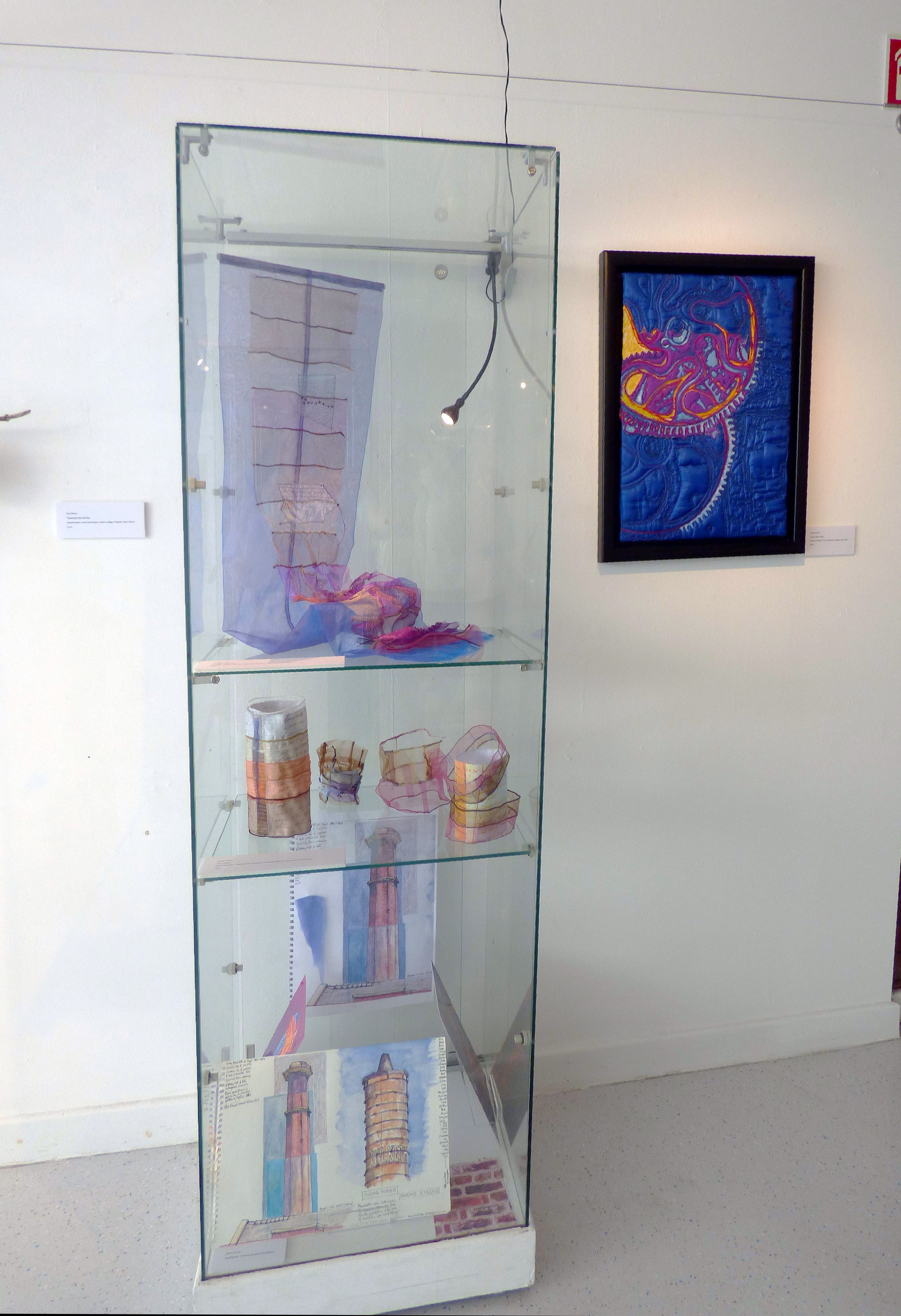 """TREASURES FROM THE SEA by Sue Reeve, painted fabric, hand embroidery, fabric collage, pebbles, wire, wood,  """"Synergy"""" exhibition by Preston Threads, July 2021"""