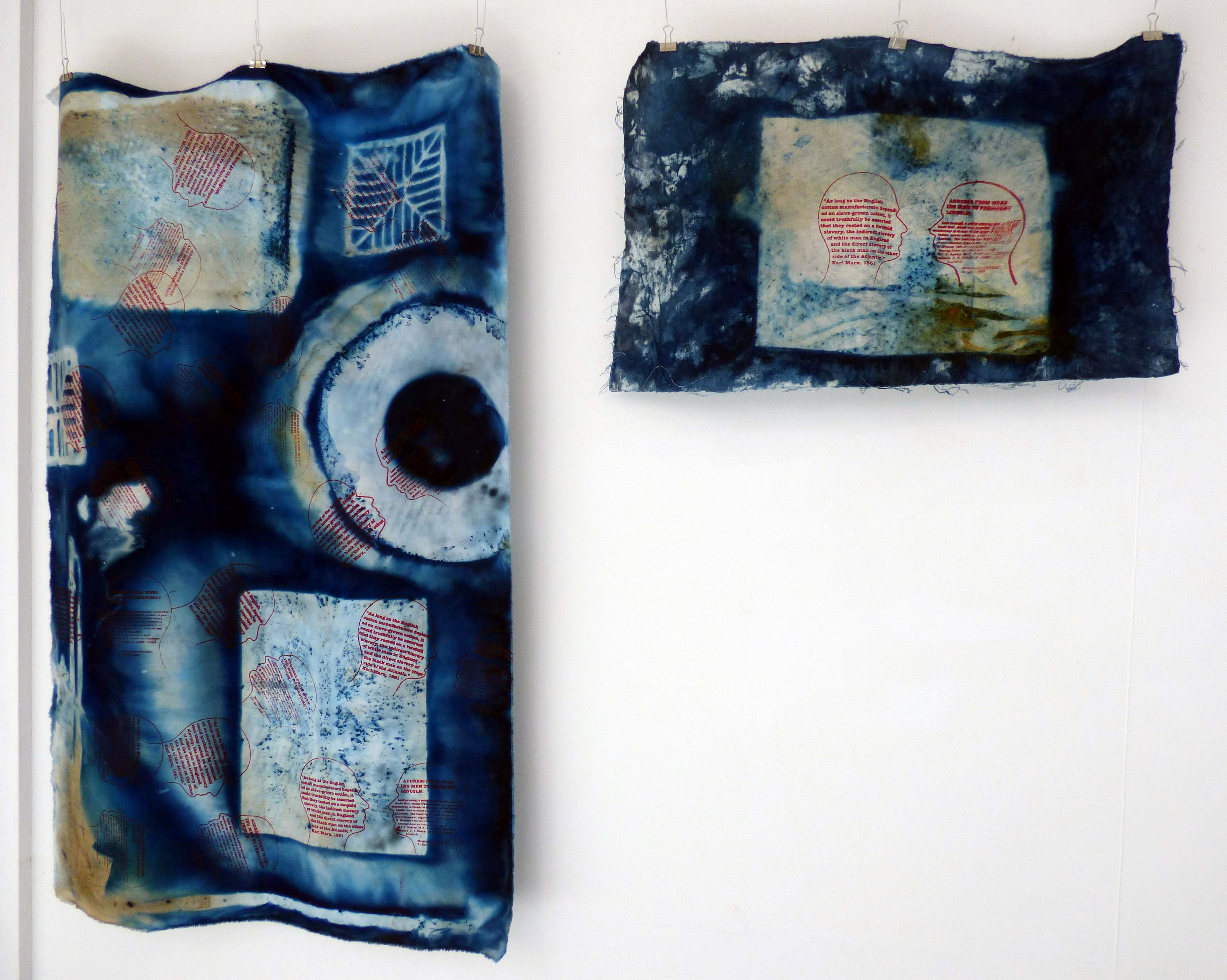 """HEAD SERIES I, II, III, IV and V by Susan Syddall, cyanotype on fabric and screen print, """"Synergy"""" exhibition by Preston Threads, July 2021"""