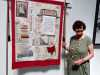 """HER STORY TO BE TOLD, Moscow Mill, Oswaldtwistle by Julie Kent, print, collage and hand stitch, """"Synergy"""" exhibition by Preston Threads, July 2021"""