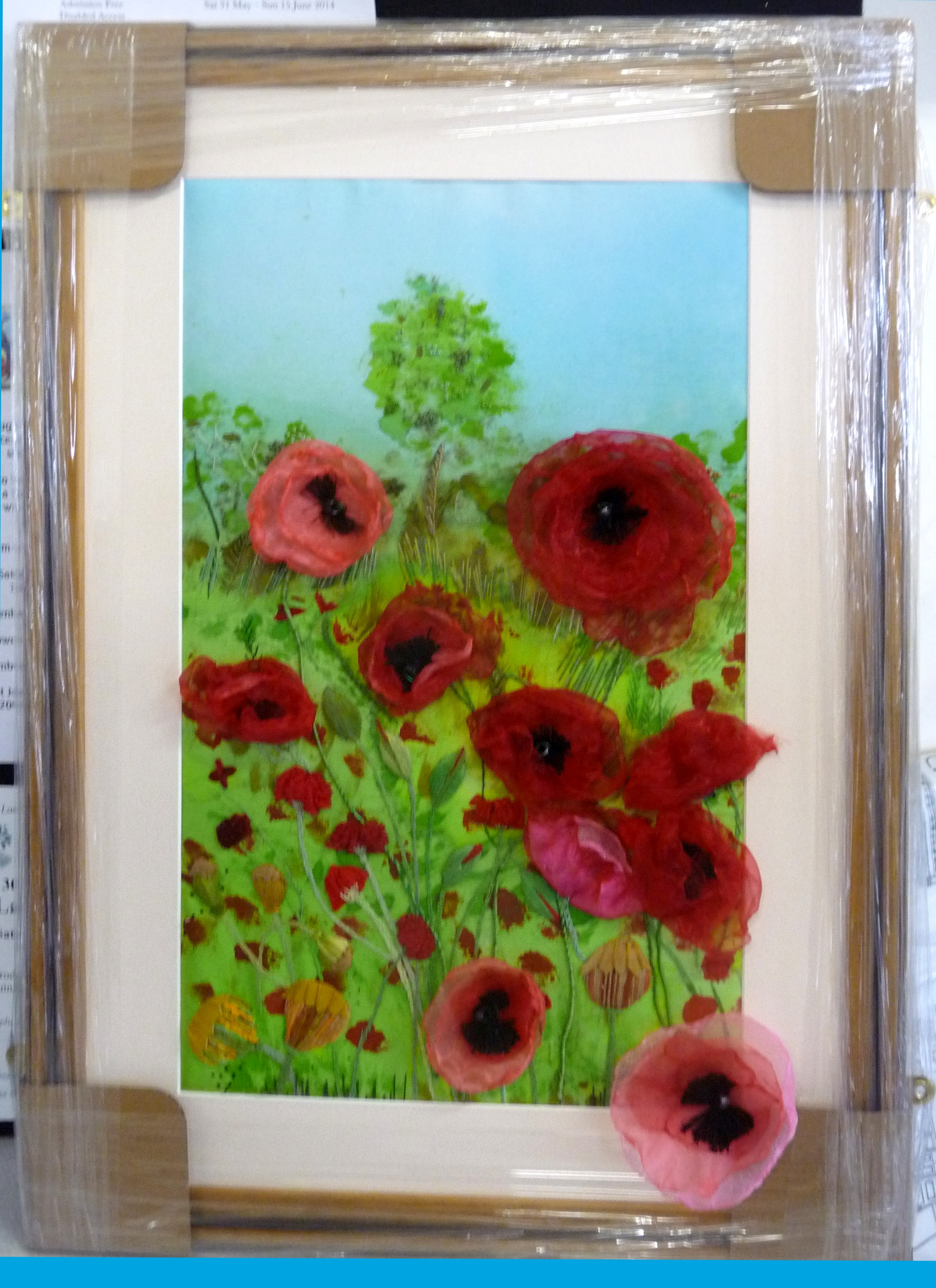 Vicky Williams POPPIES embroidery packed & ready for our exhibition