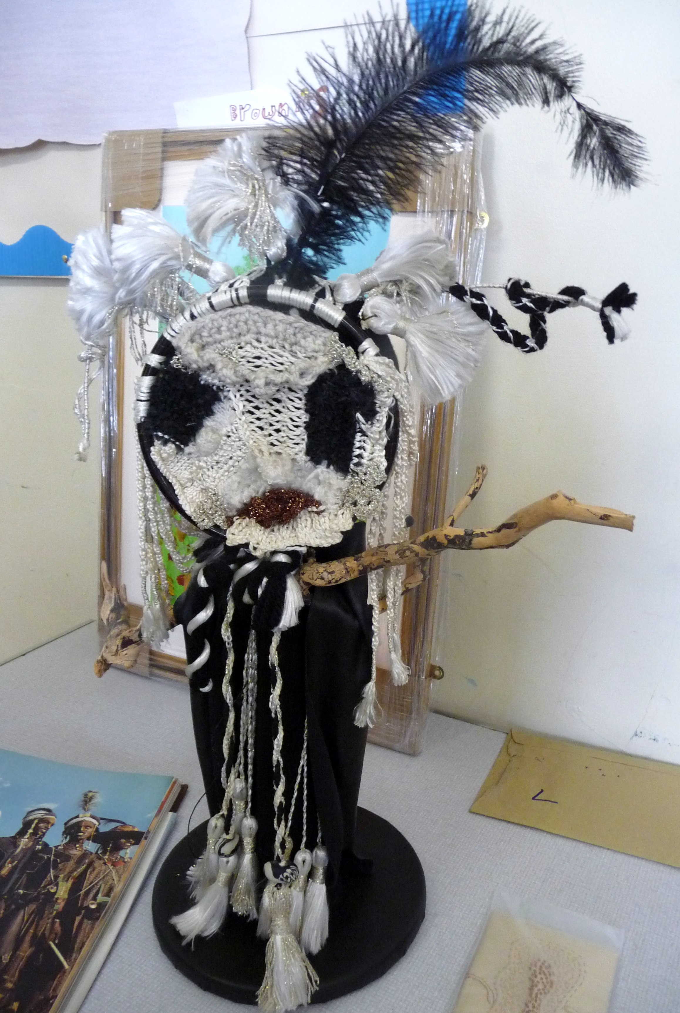 Jean Critchley's entry to 2014 NW Regional Day. Design based on tribal headdresses