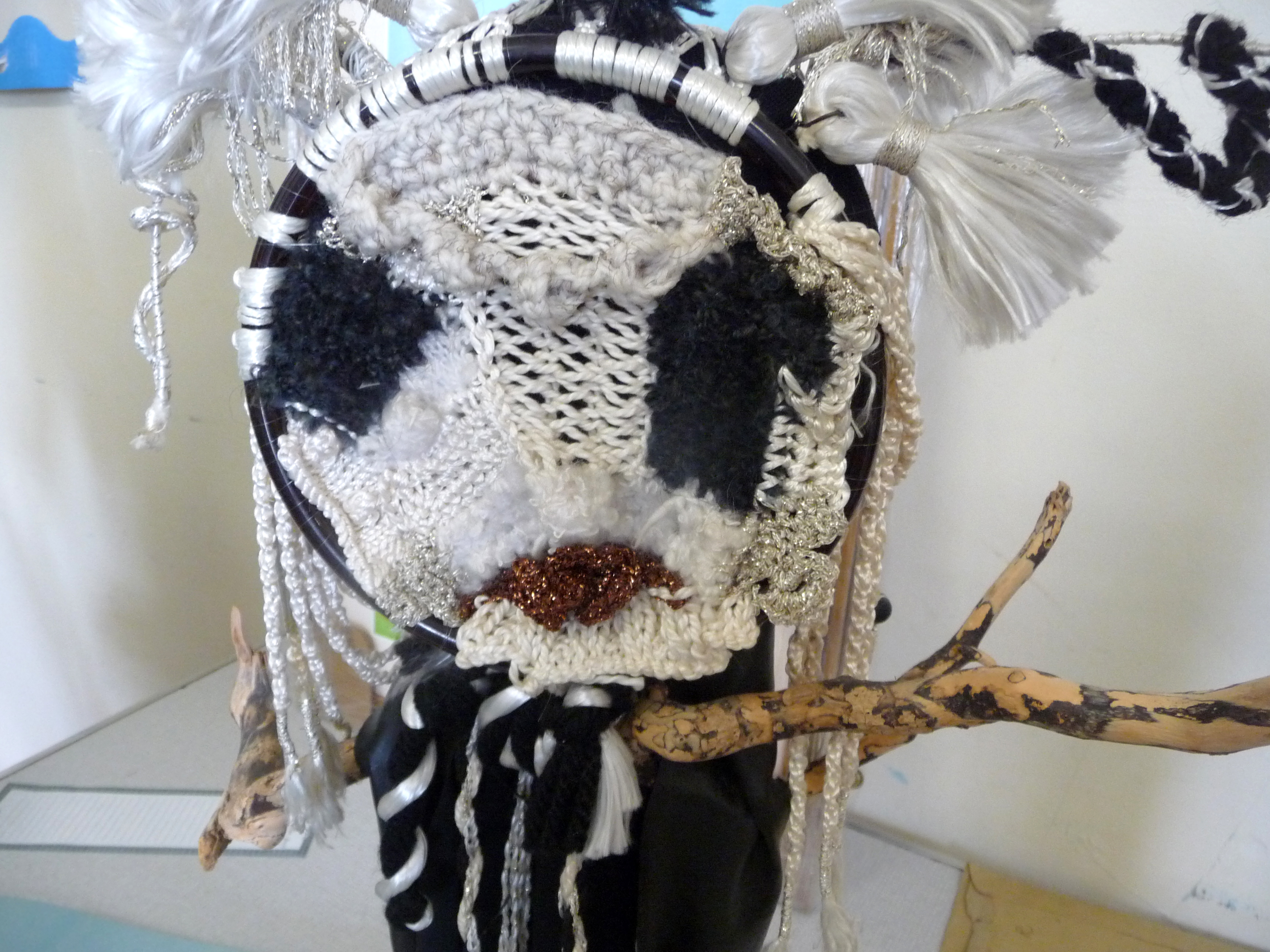 detail of Jean Critchley's entry to 2014 NW Regional Day. Design based on tribal headdresses