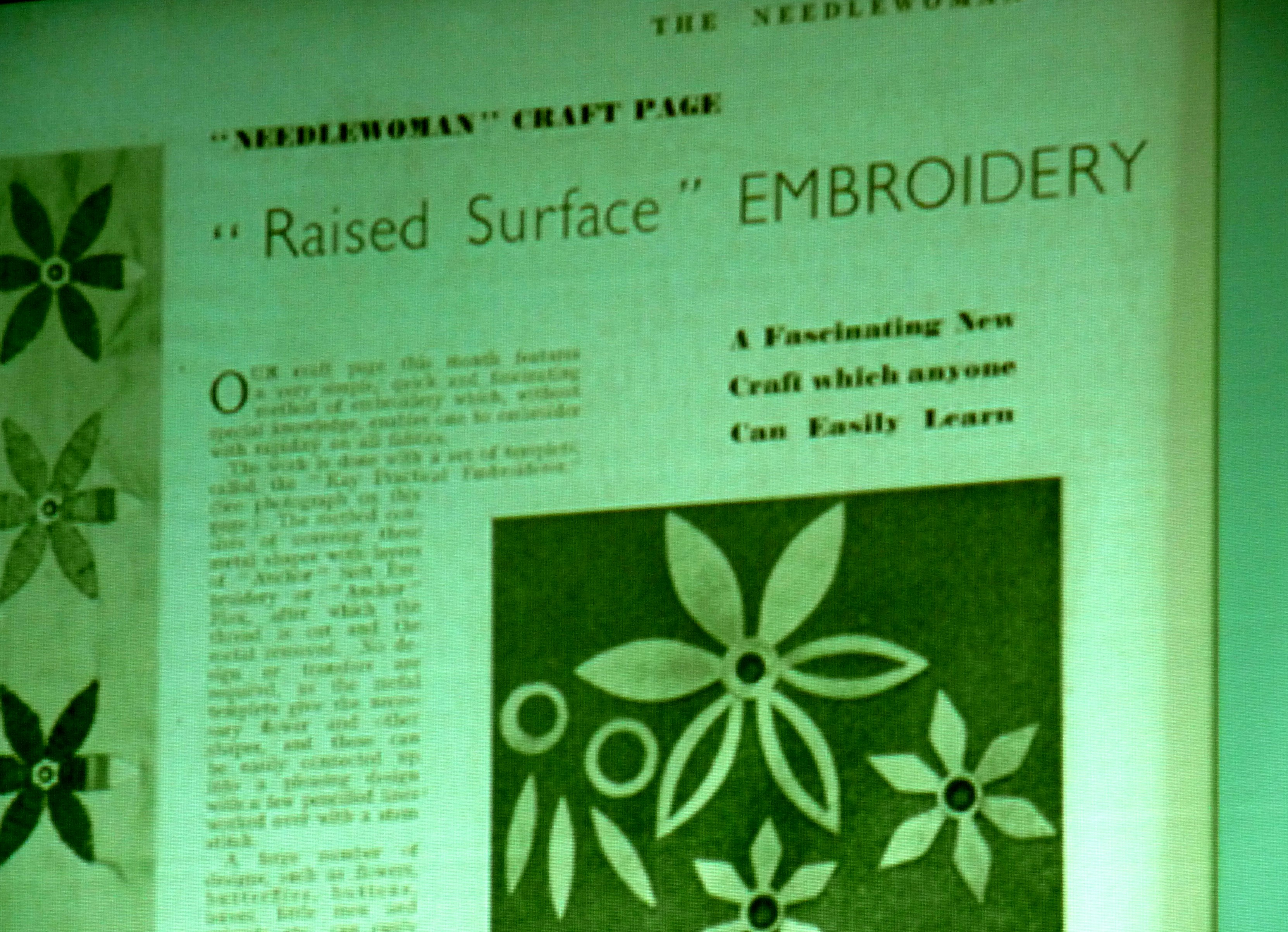 "slide by Alice Colson showing Kay's Practical Embroiderer featured in 1939 ""Needlewoman"" magazine"