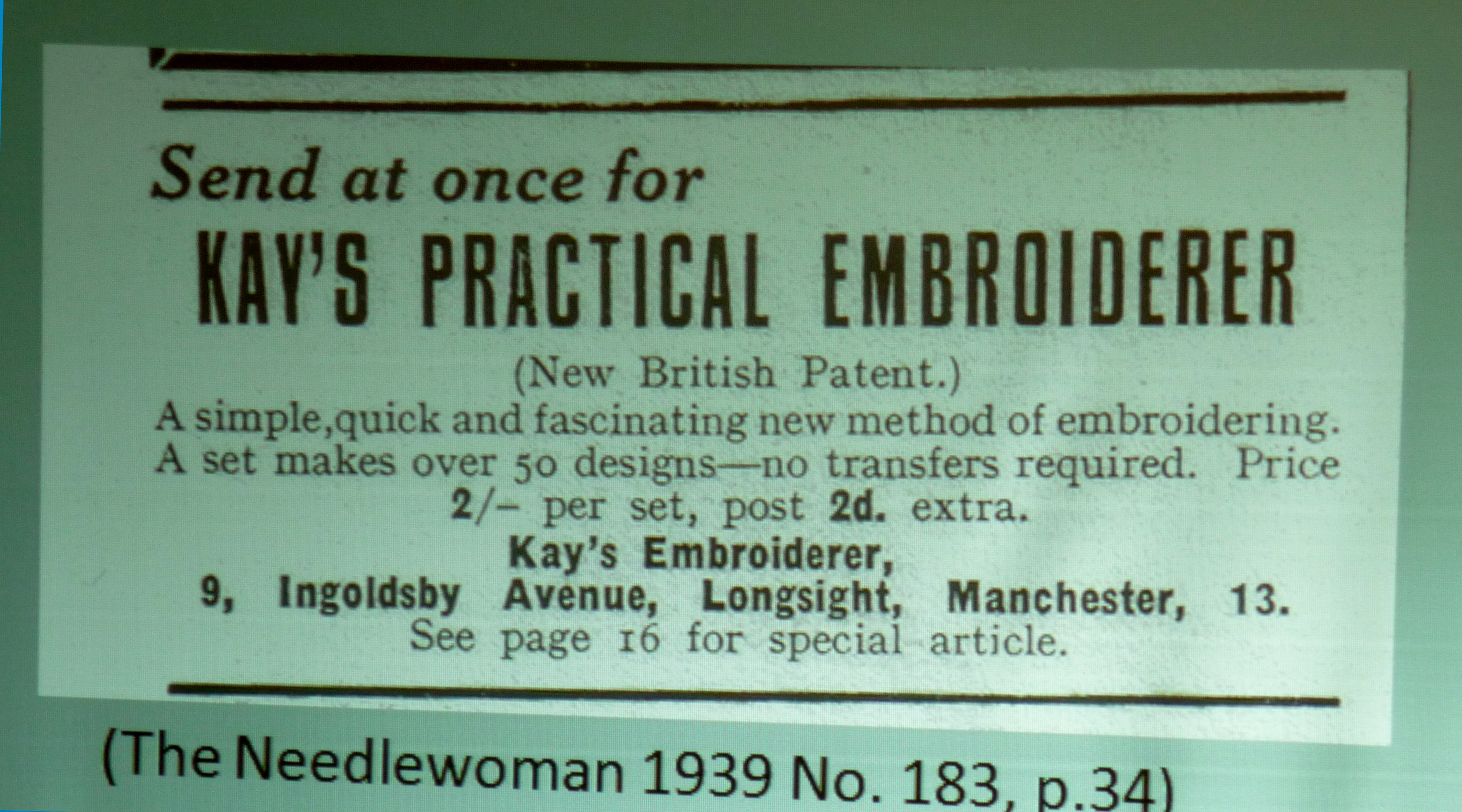 slide by Alice Colson showing an advertisement for Kay's Practical Embroiderer