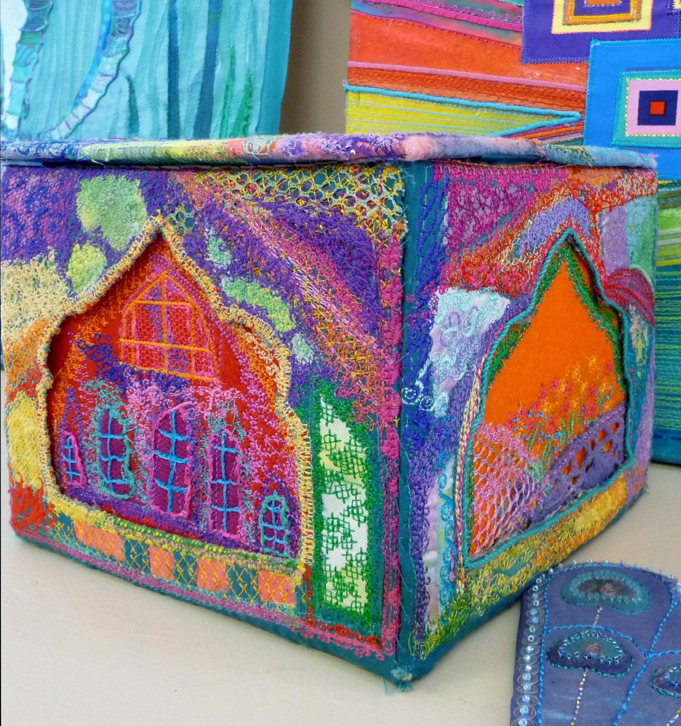 embroidered box by Beryl Waterfield, Altrincham EG