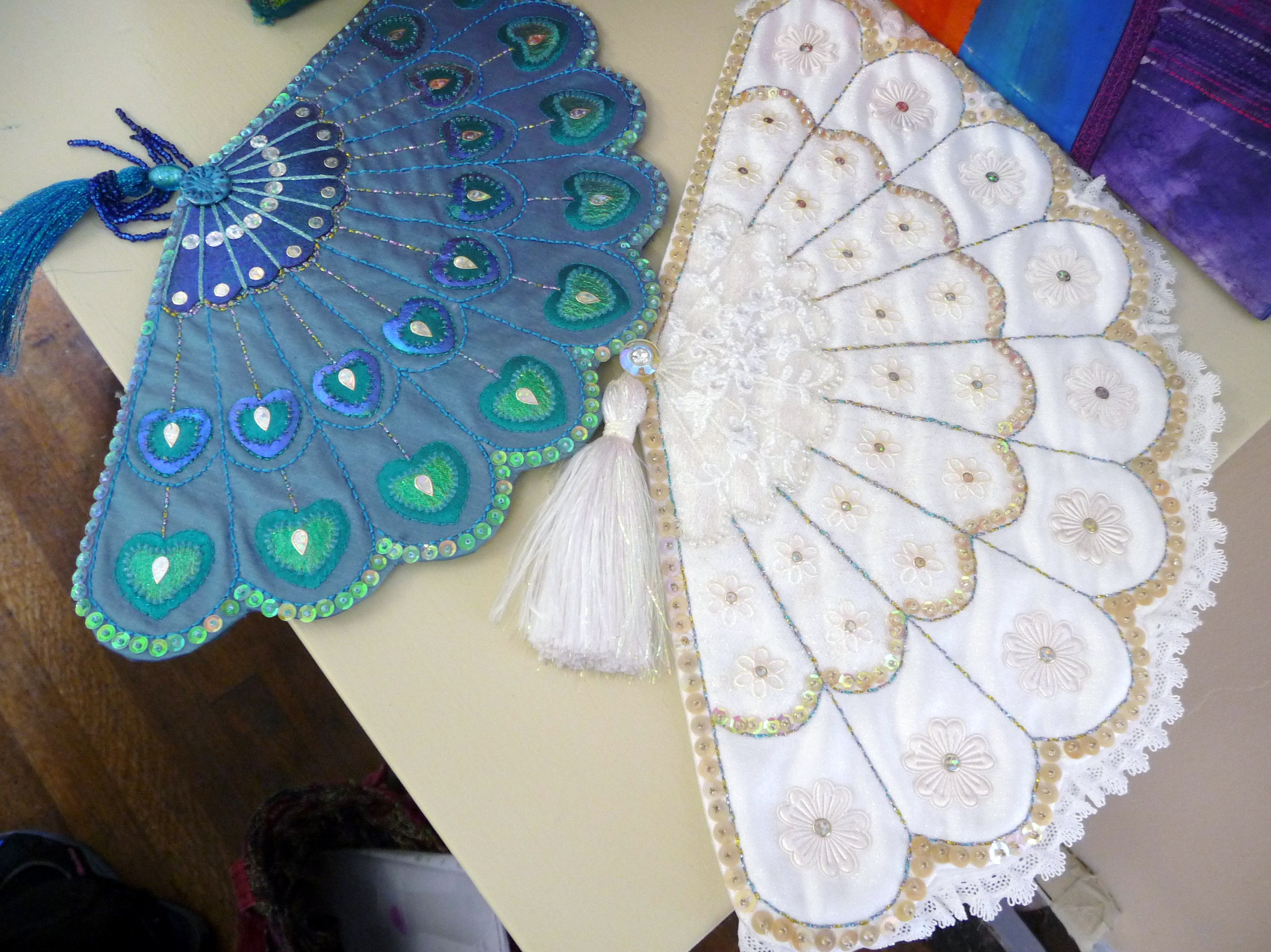 embroidered fans by Beryl Waterfield, Altrincham EG
