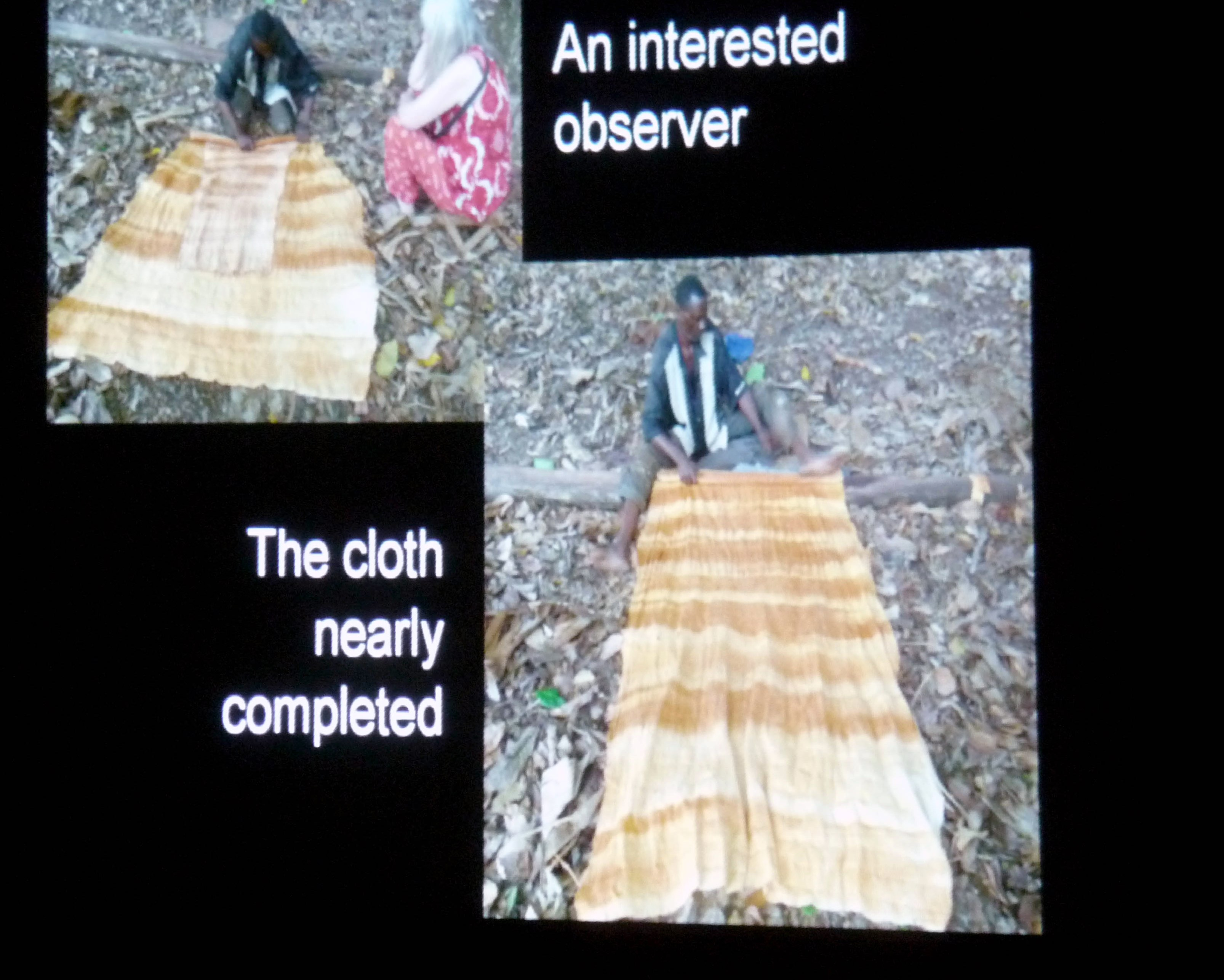 slide by Bobby Britnall showing barkcloth being made
