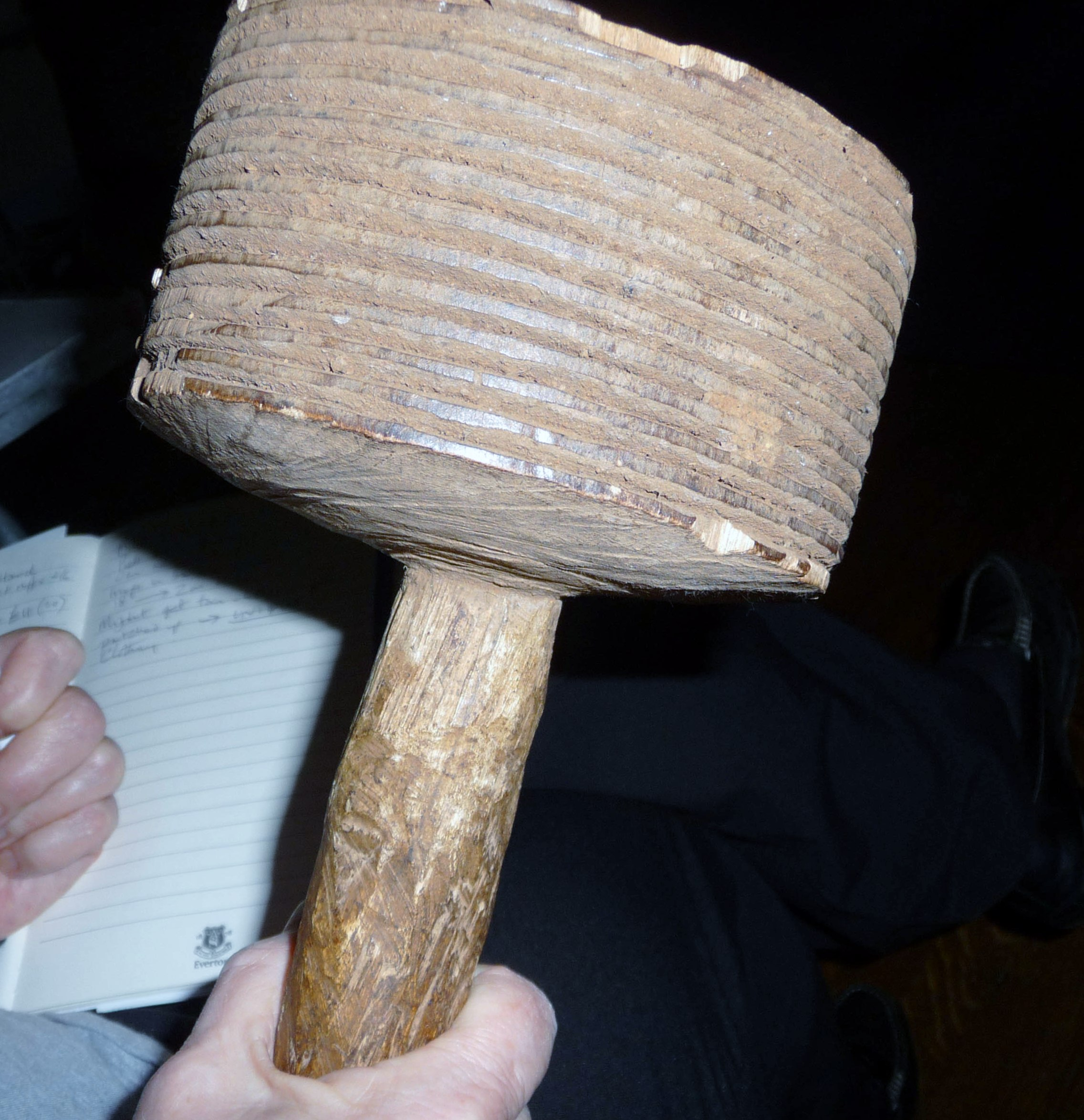 this is a mallet used by Ugandan workers to hammer the bark of the matuba tree to make barkcloth