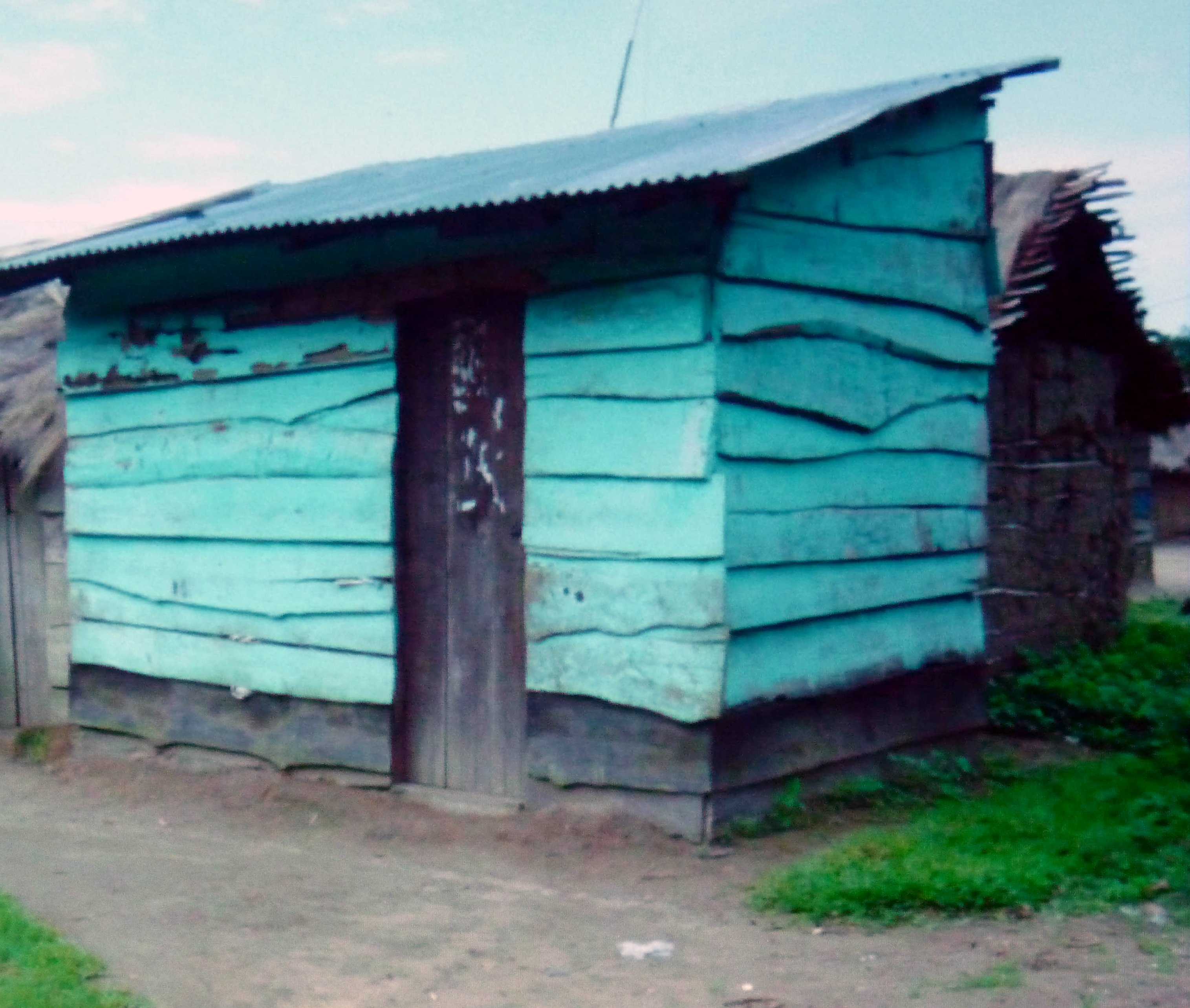 slide by Bobby Britnall showing a small Ugandan house. The colour influenced Bobby Britnall's recent work with barkcloth