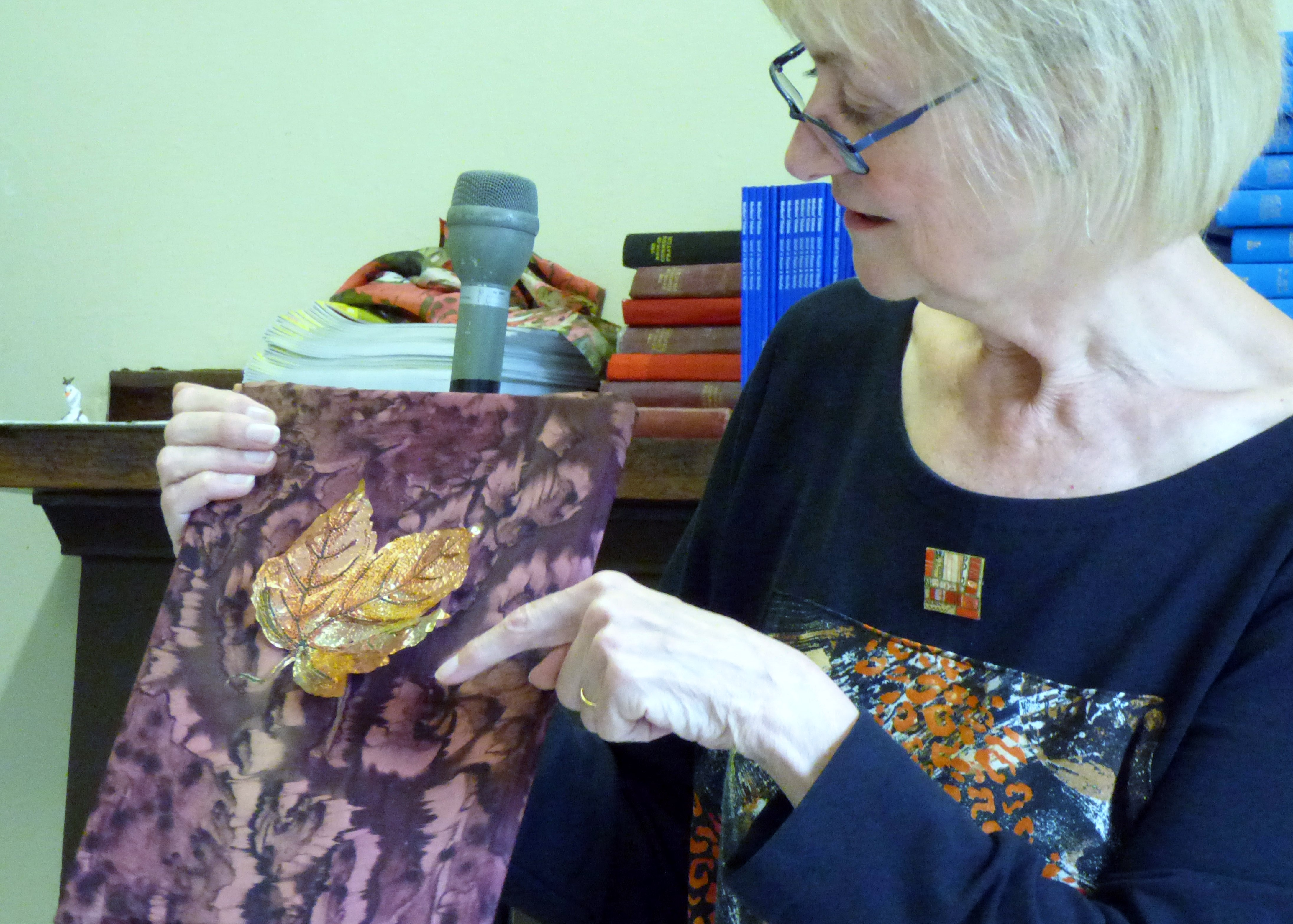 embroidery on metallic foil by Judi Brown, Glossop EG