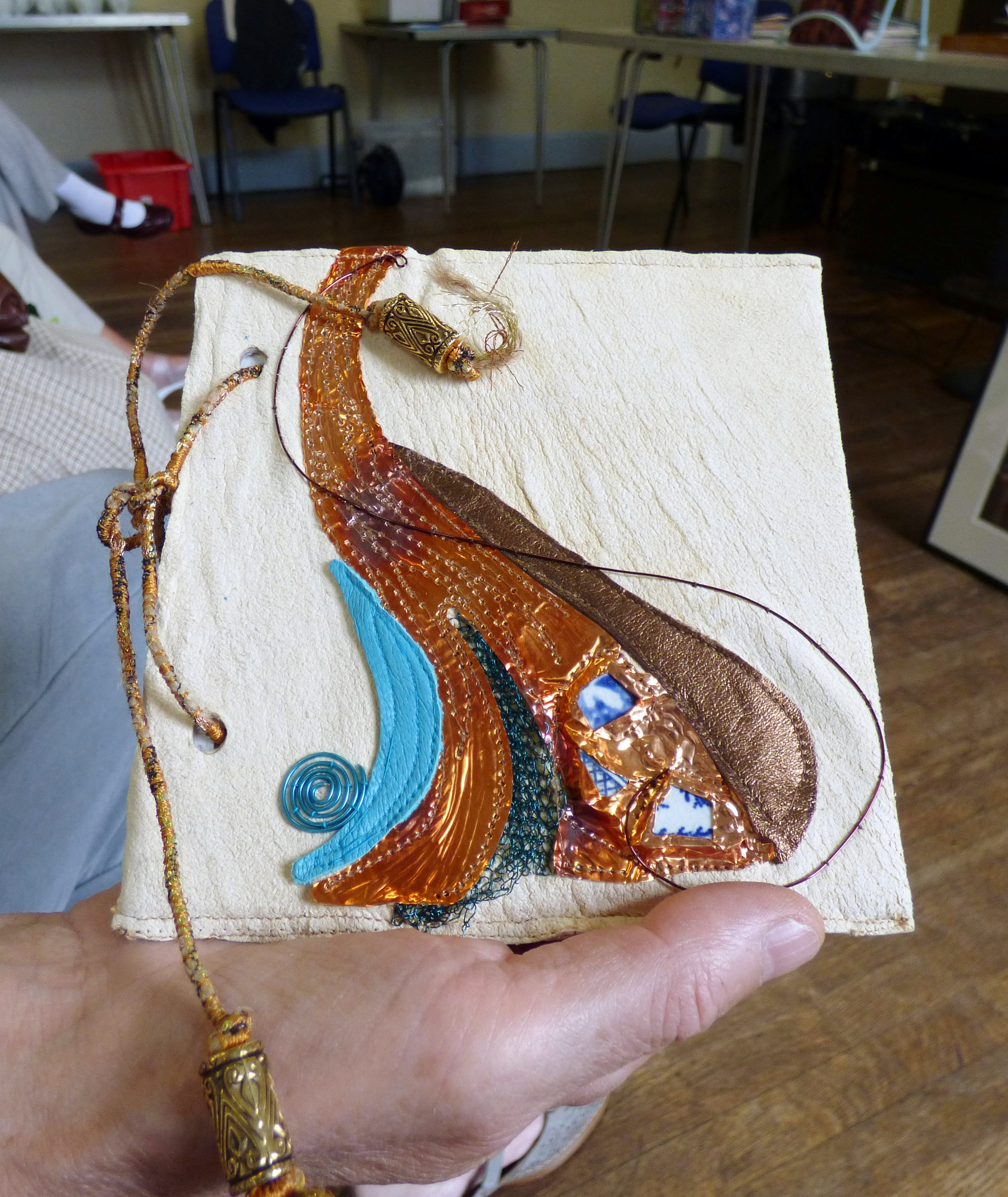 embroidered book cover by Judi Brown, Glossop EG