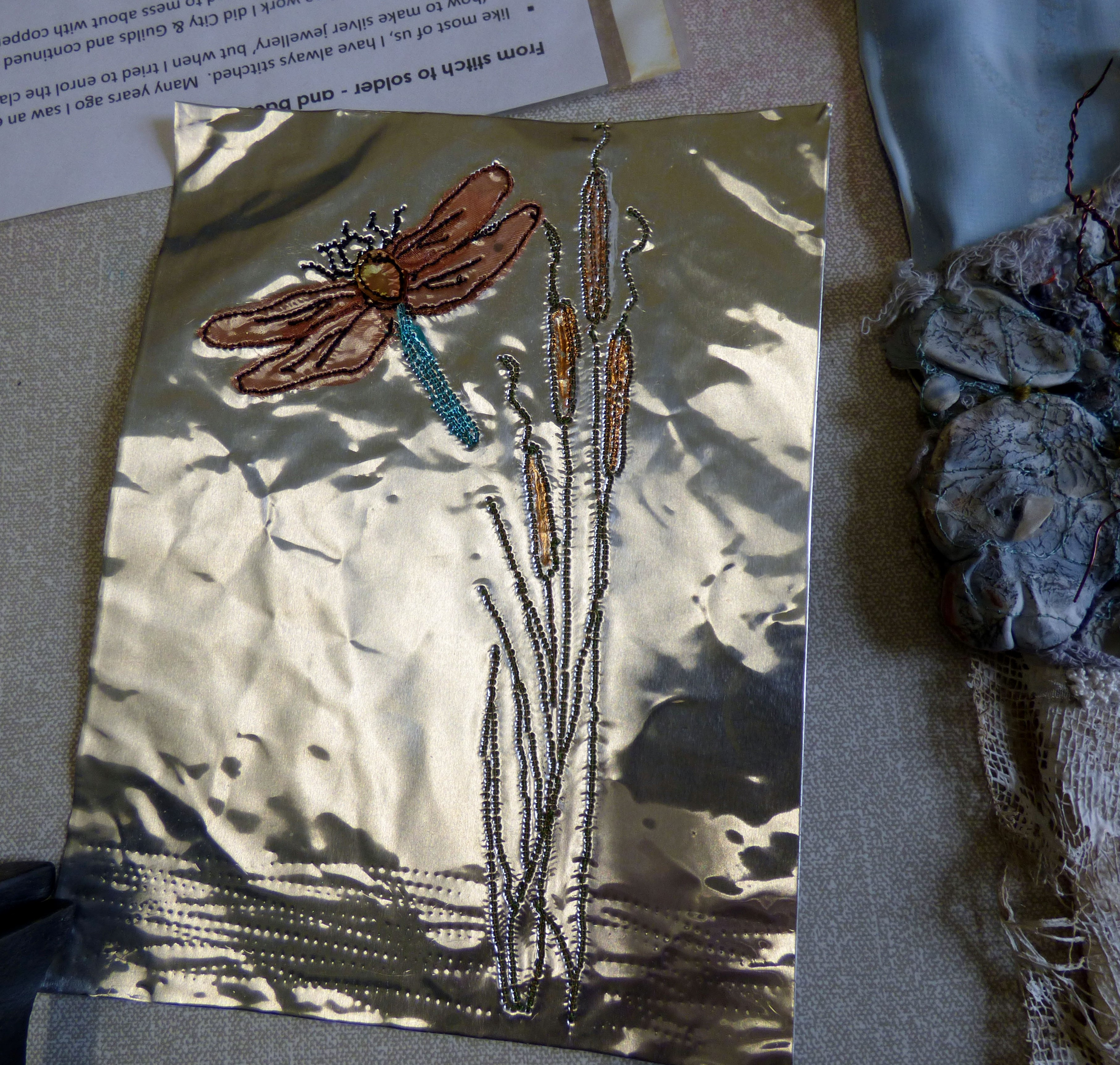 embroidery on metal by Judi Brown, Glossop EG