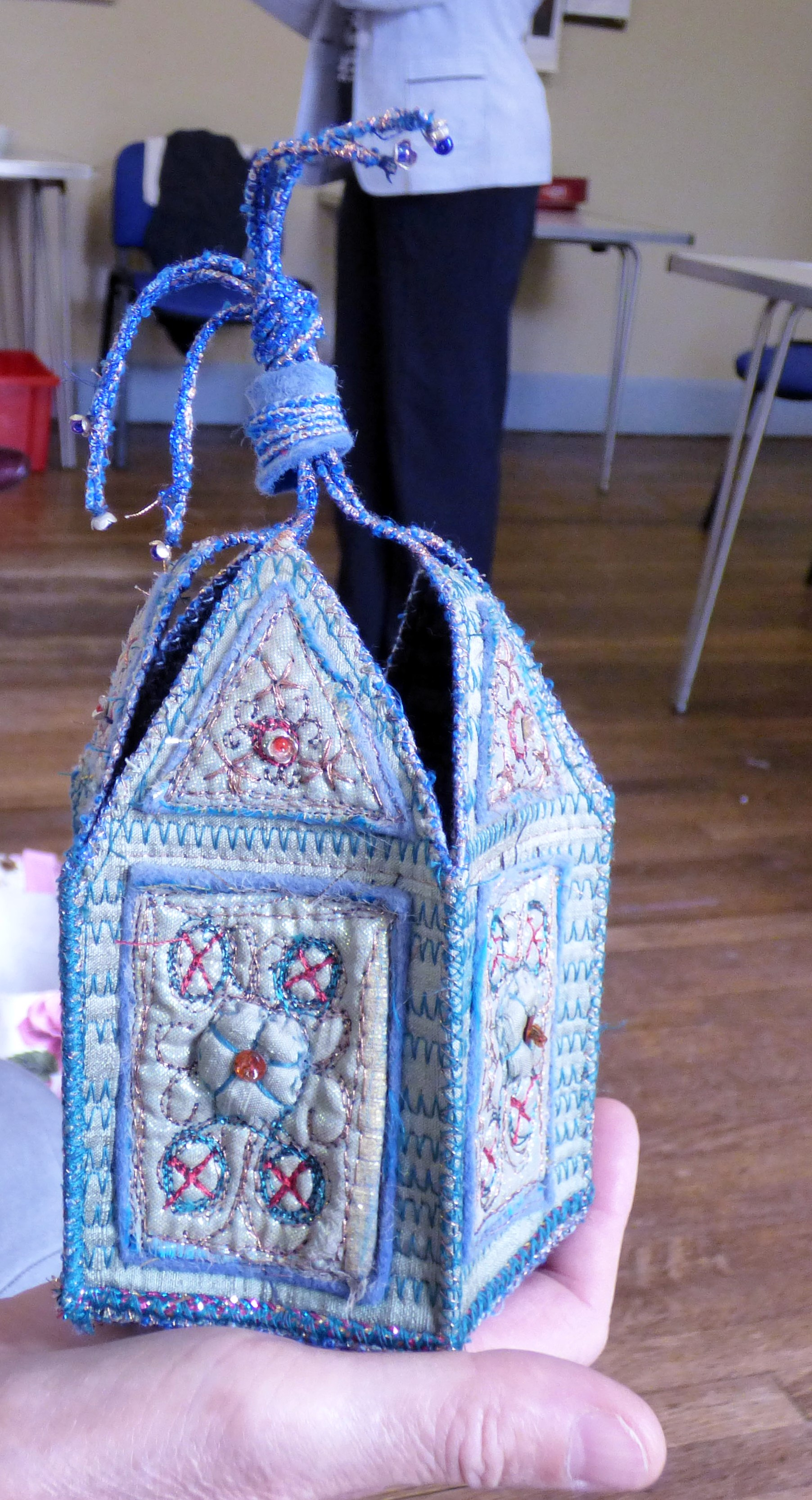 machine embroidered casket made by Sheila Conchie, Glossop EG