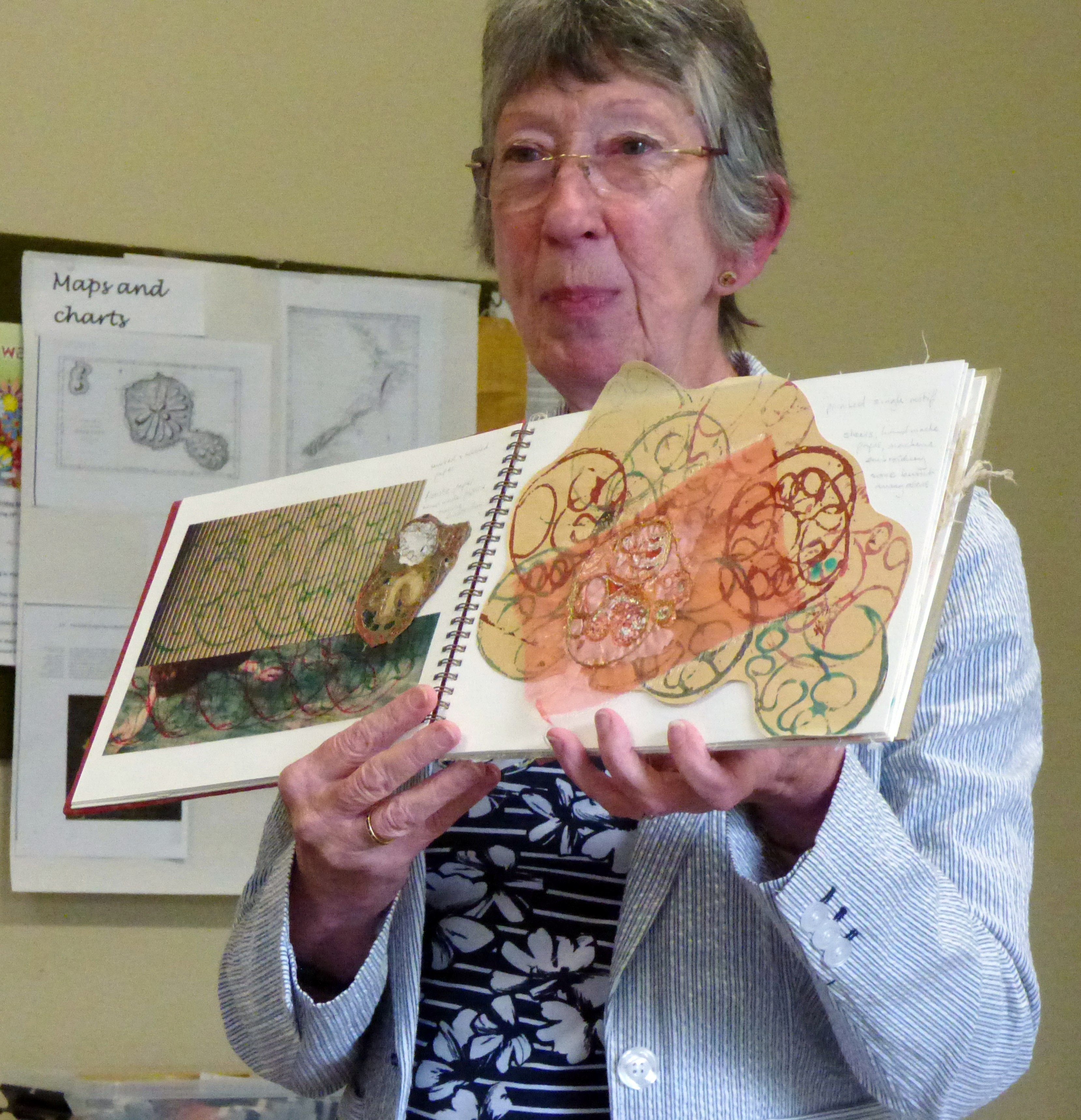 Sheila Conchie with her sketch book, Glossop EG