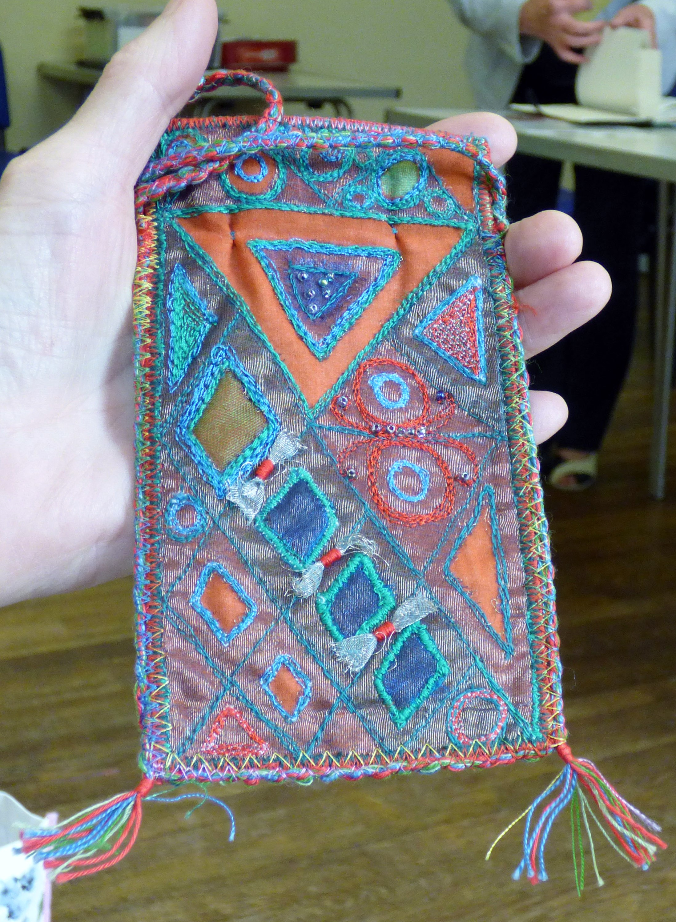 machine embroidered purse by Sheila Conchie, Glossop EG