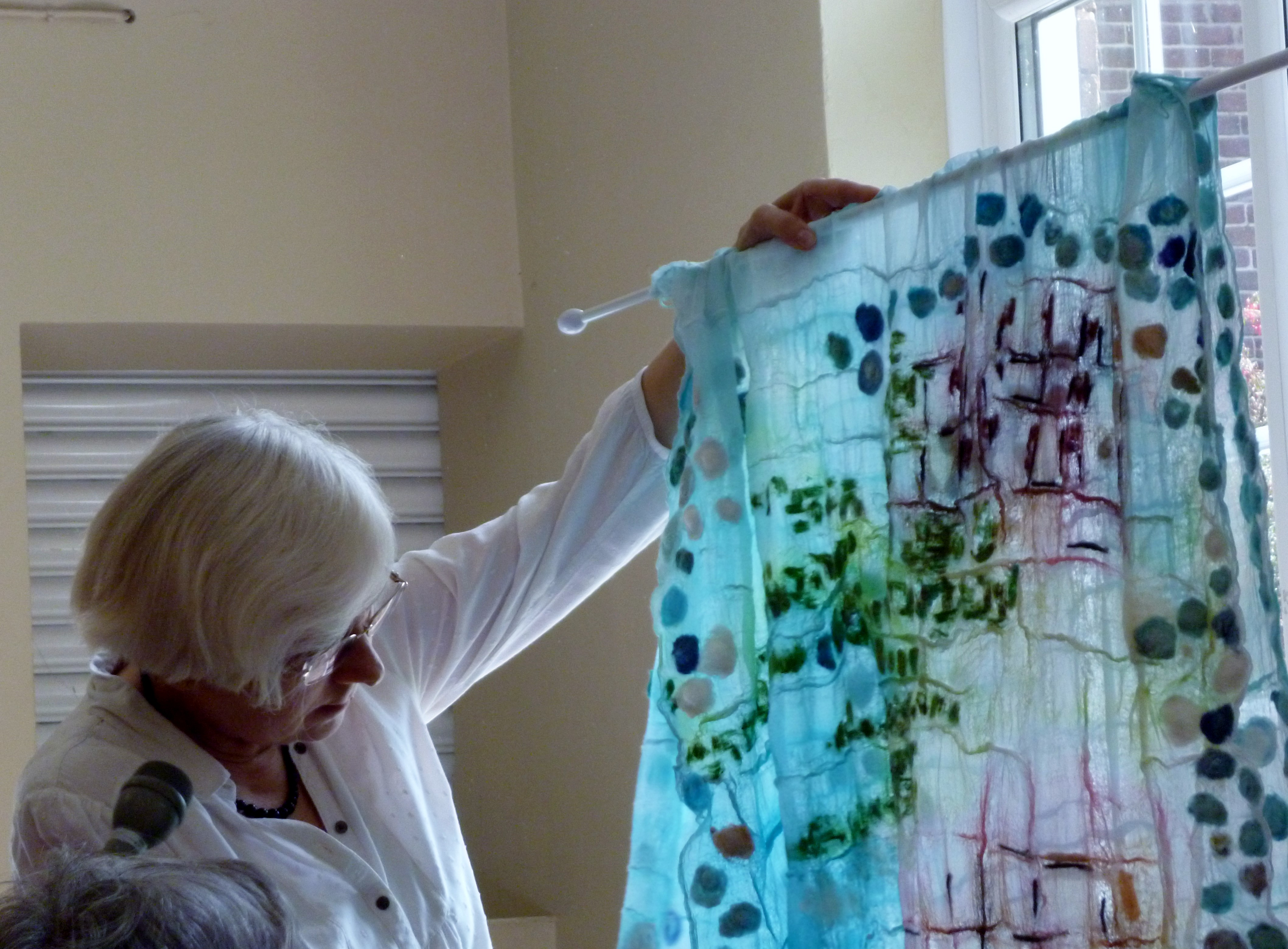 embroidery by Judith Rowley at MEG, August 2019