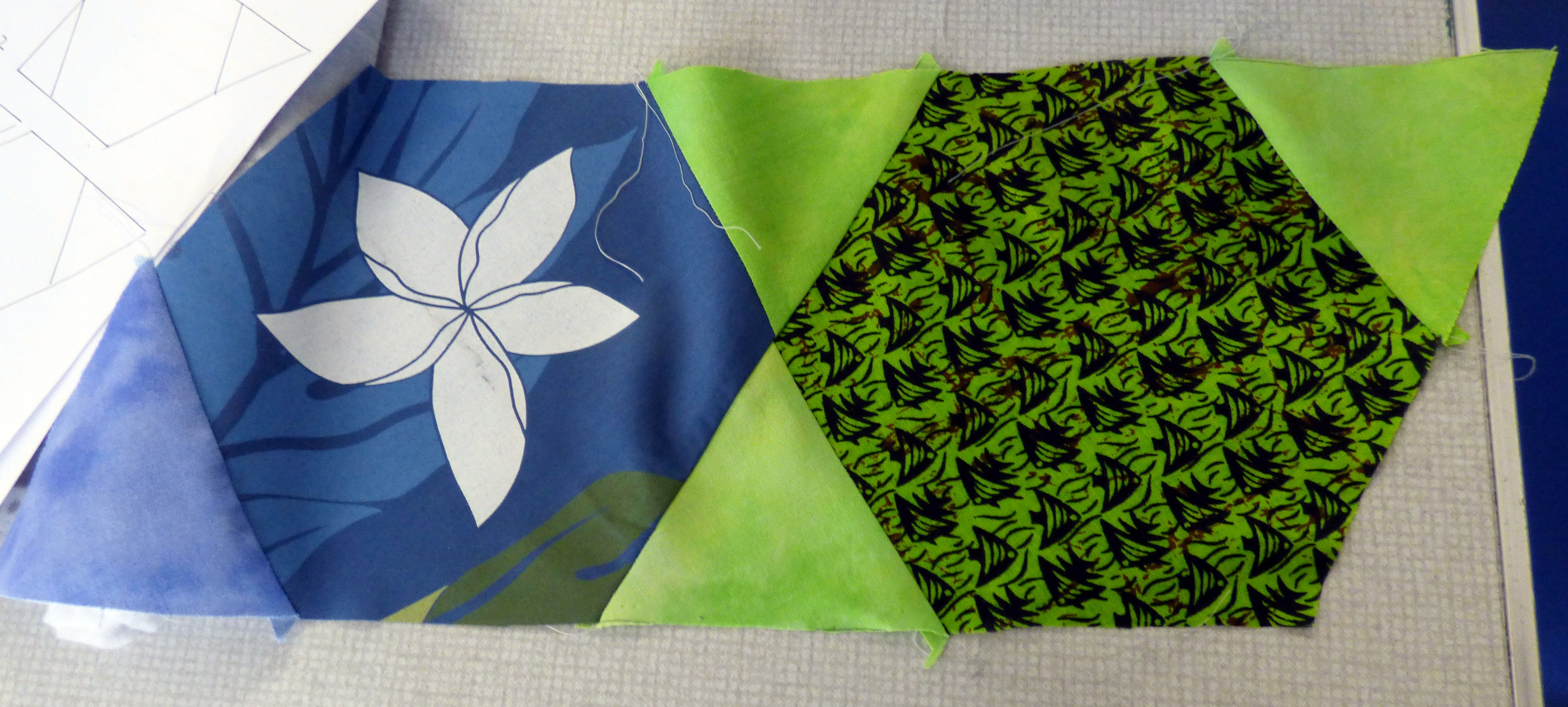 Margaret Smith gave us some lessons on quilt construction. This is how the KF quilt block should be sewn