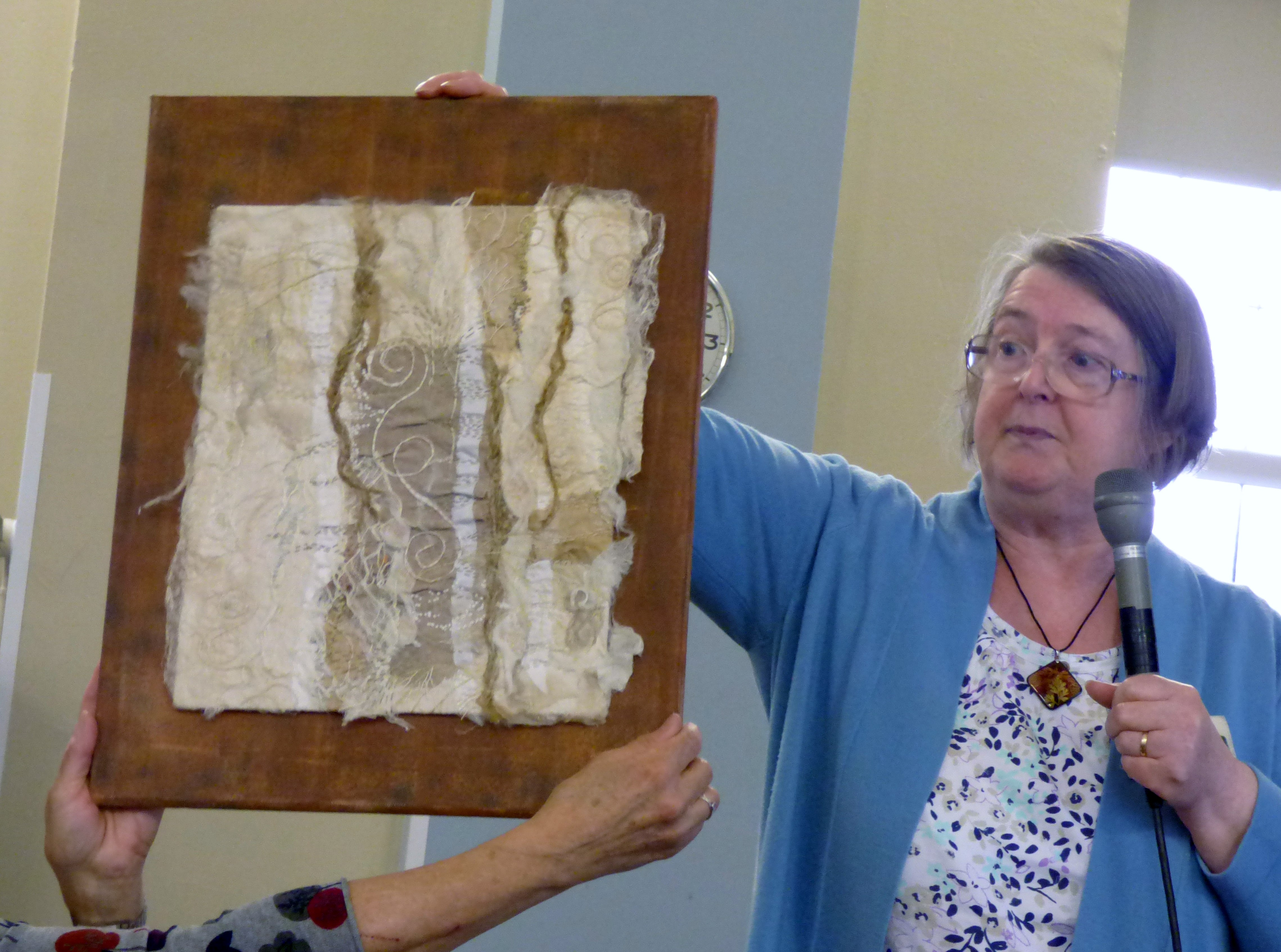 Linda Beagan with one of her embroideries, N.Wales EG