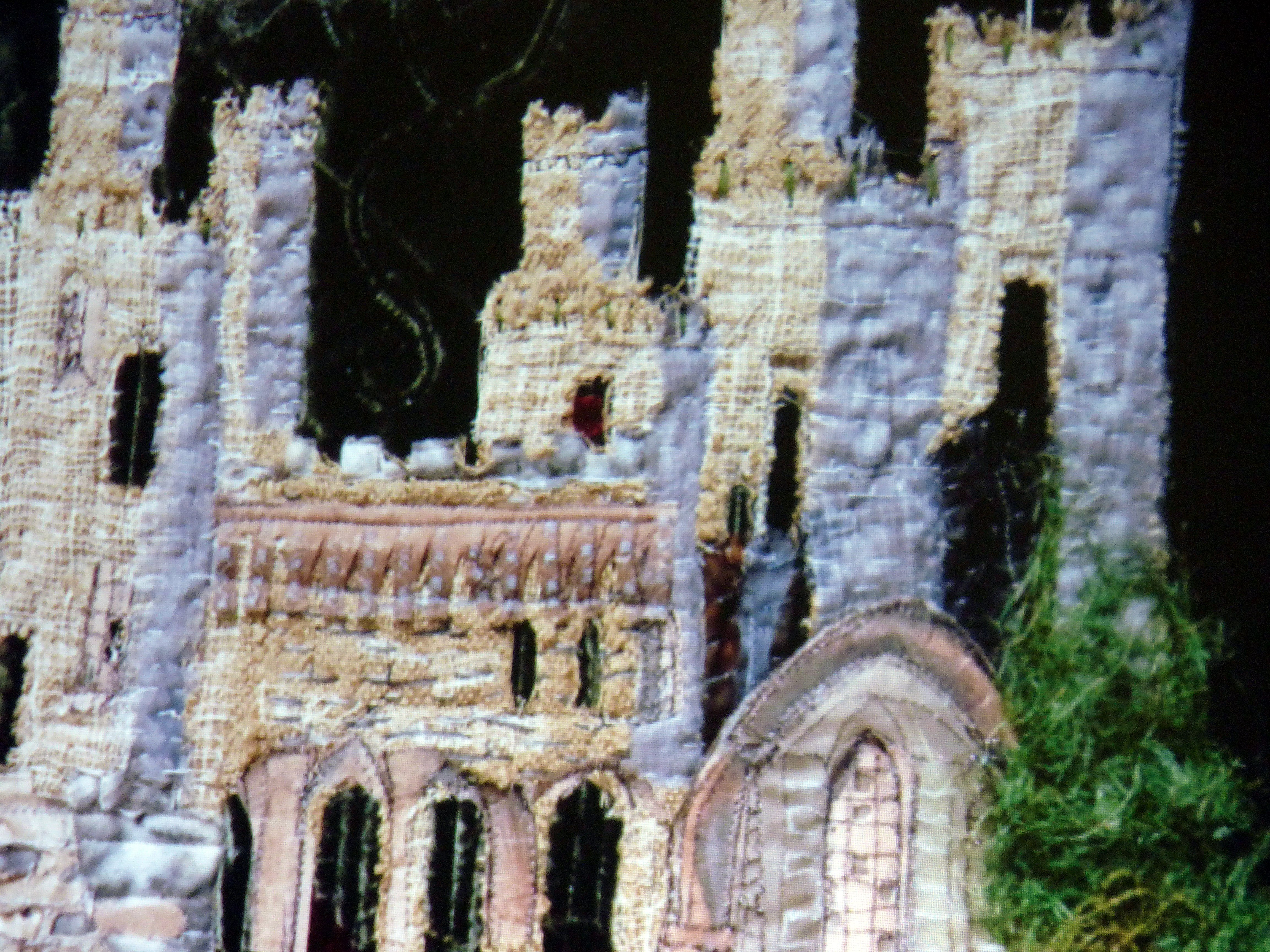 "detail of ""Rebuilding a Castle"" embroidery by Linda Beagan, N.Wales EG"