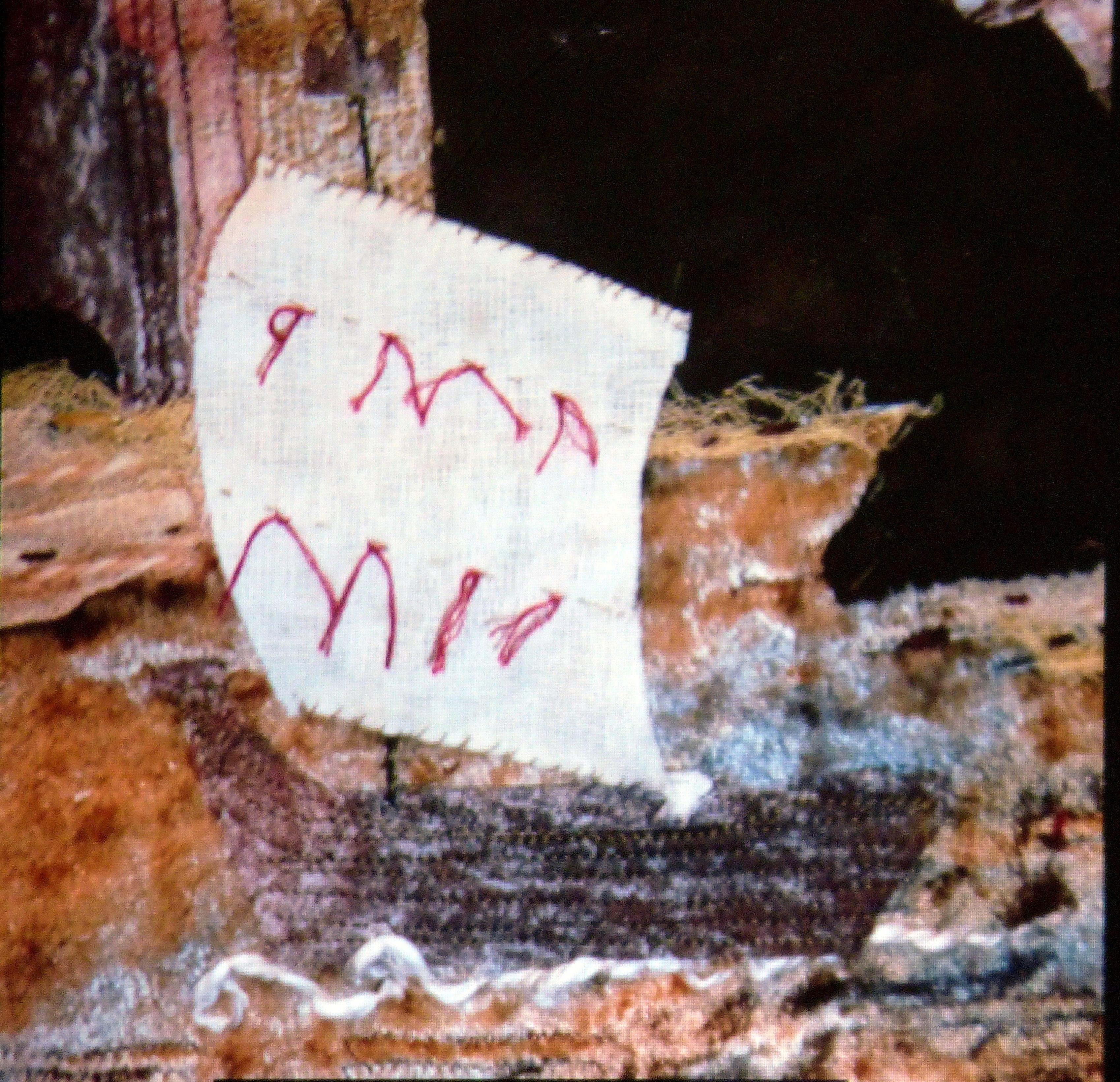 "detail of ""Rebuilding a Castle"" embroidery by Linda Beagan, N.Wales EG"