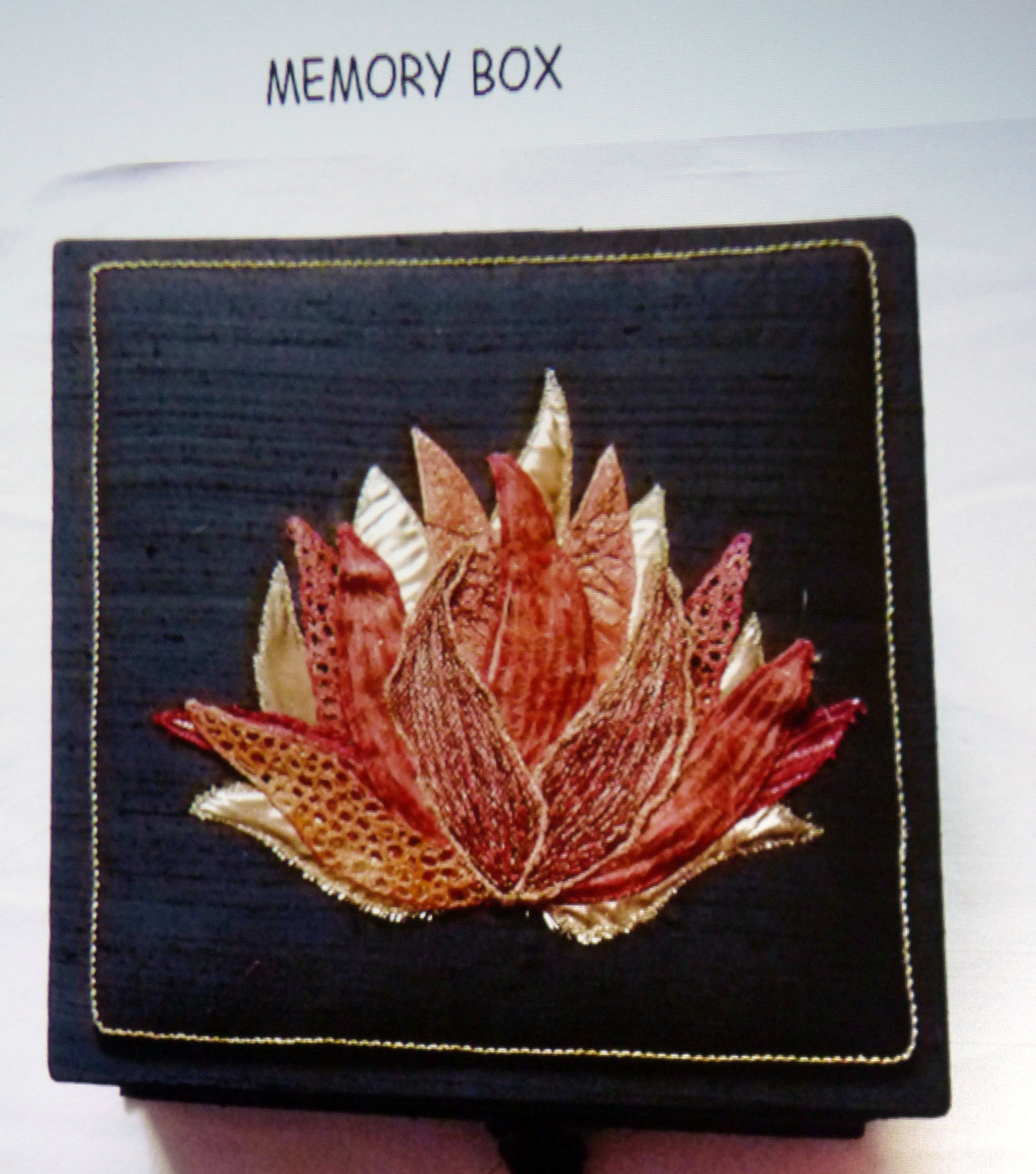 slide showing embroidered memory box made by Moya McCarthy, N.Wales EG