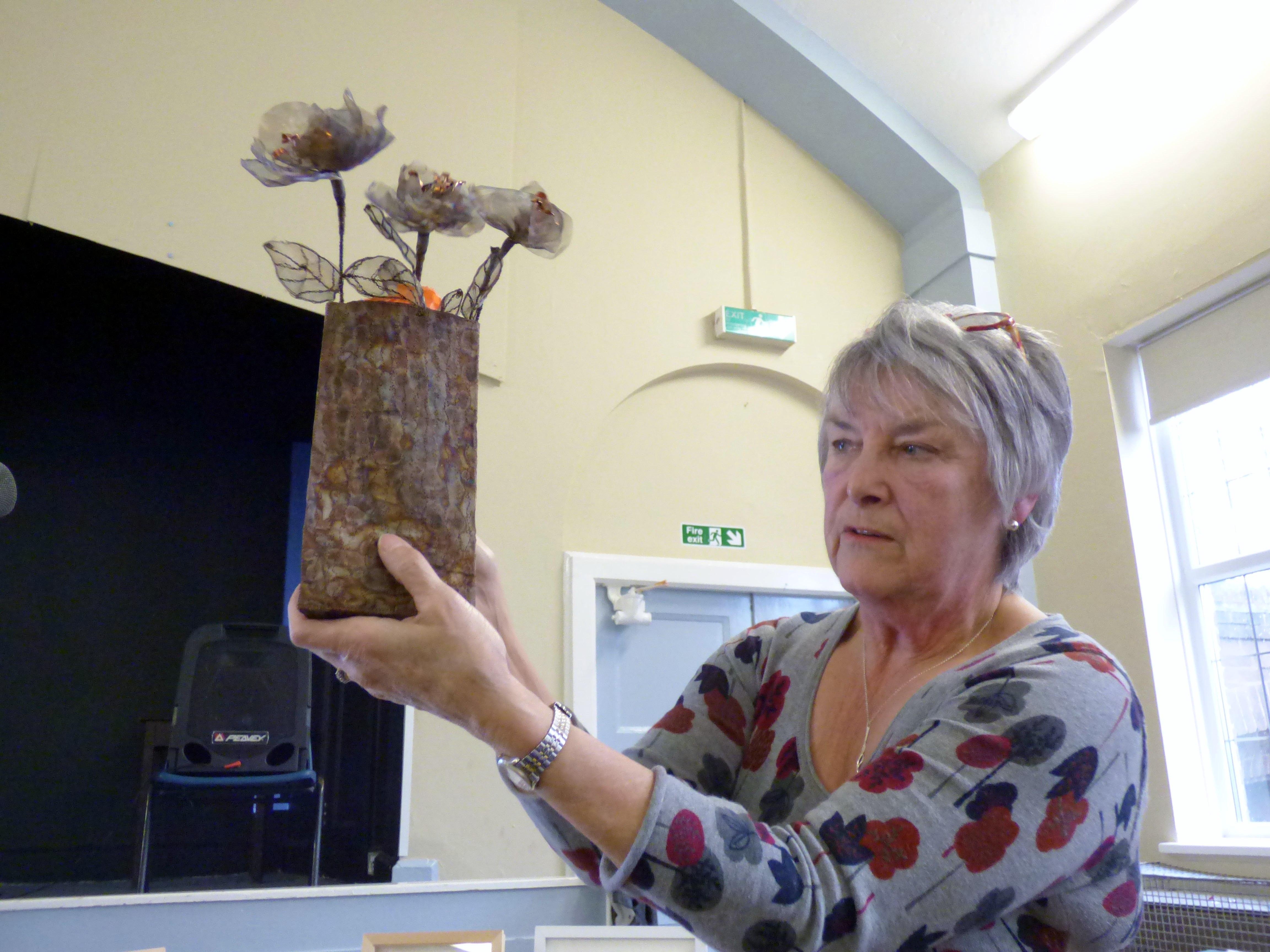 Moya McCarthy showing us her metal embroidery, N.Wales EG at MEG