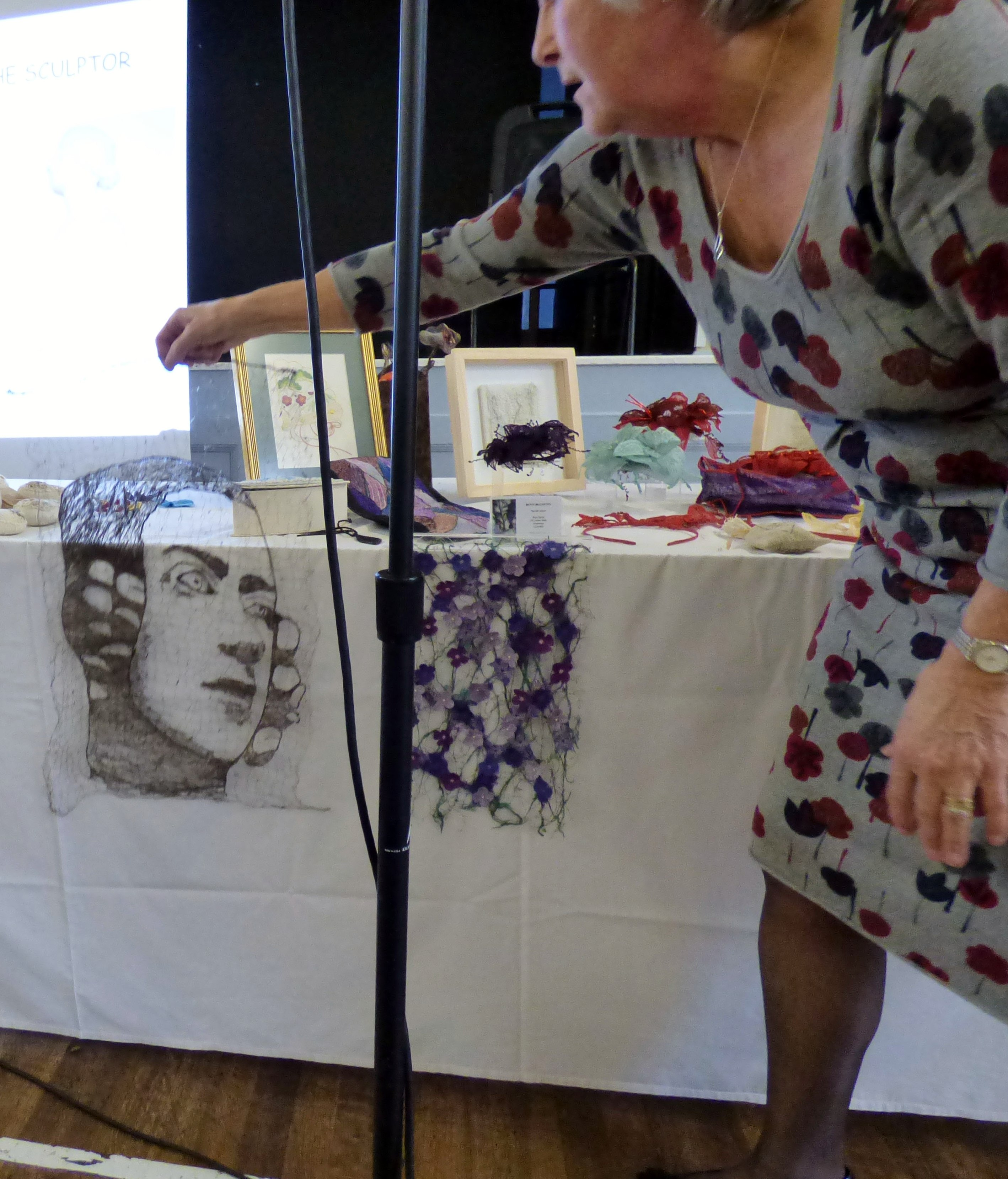 Moya McCarthy of N.Wales EG is showing us a wire embroidery