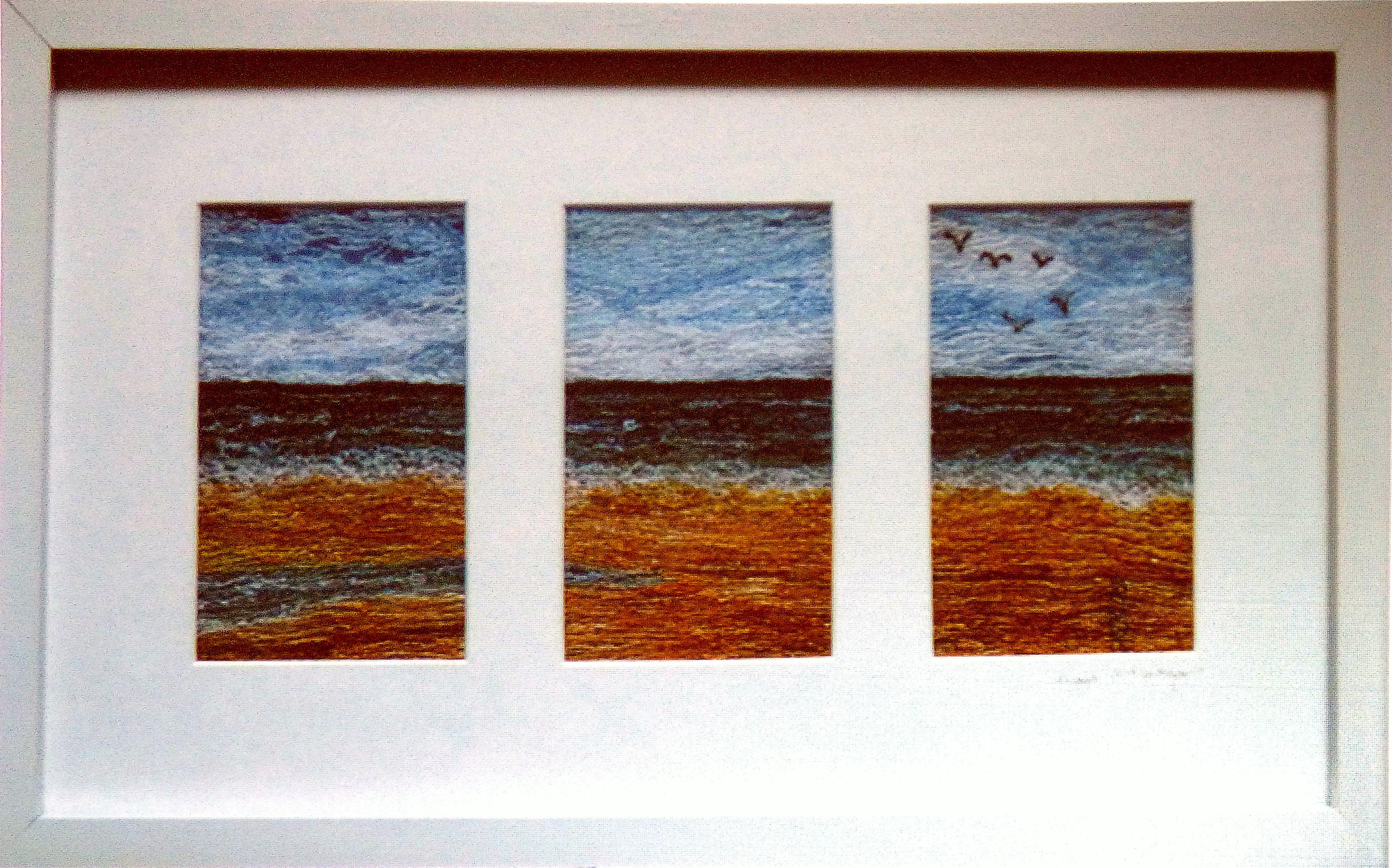 TALACRE BEACH, free machine embroidery by Moya McCarthy, N.Wales EG