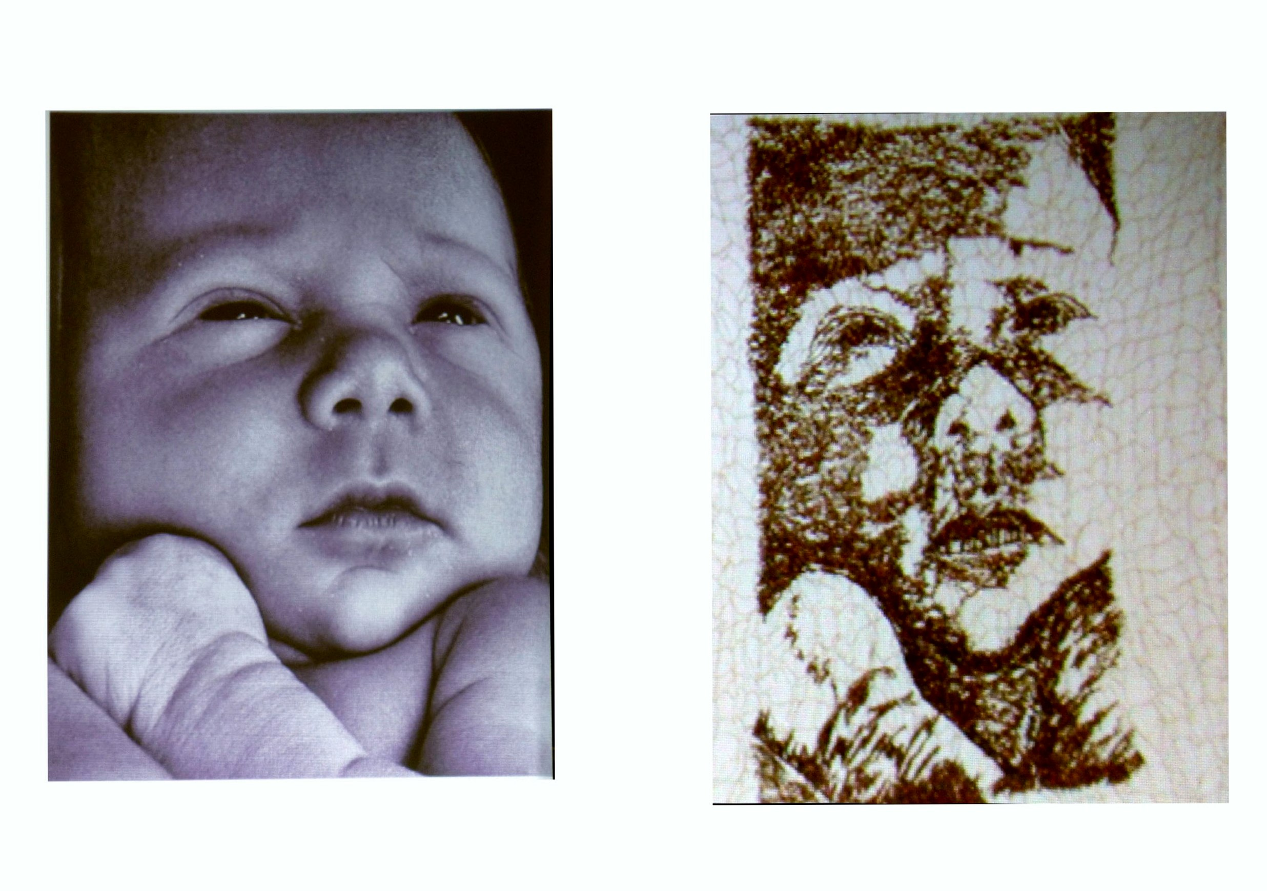 photograph of a grandchild of Moya McCarthy and the wire embroidery it inspired, N.Wales EG