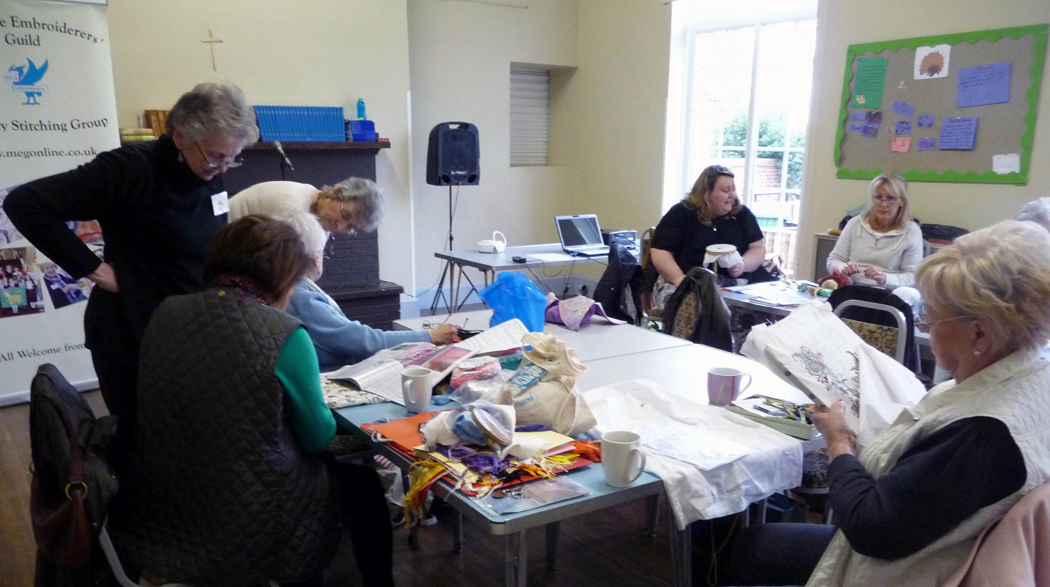 a lively 'Bring & Stitch' session before the MEG Talk