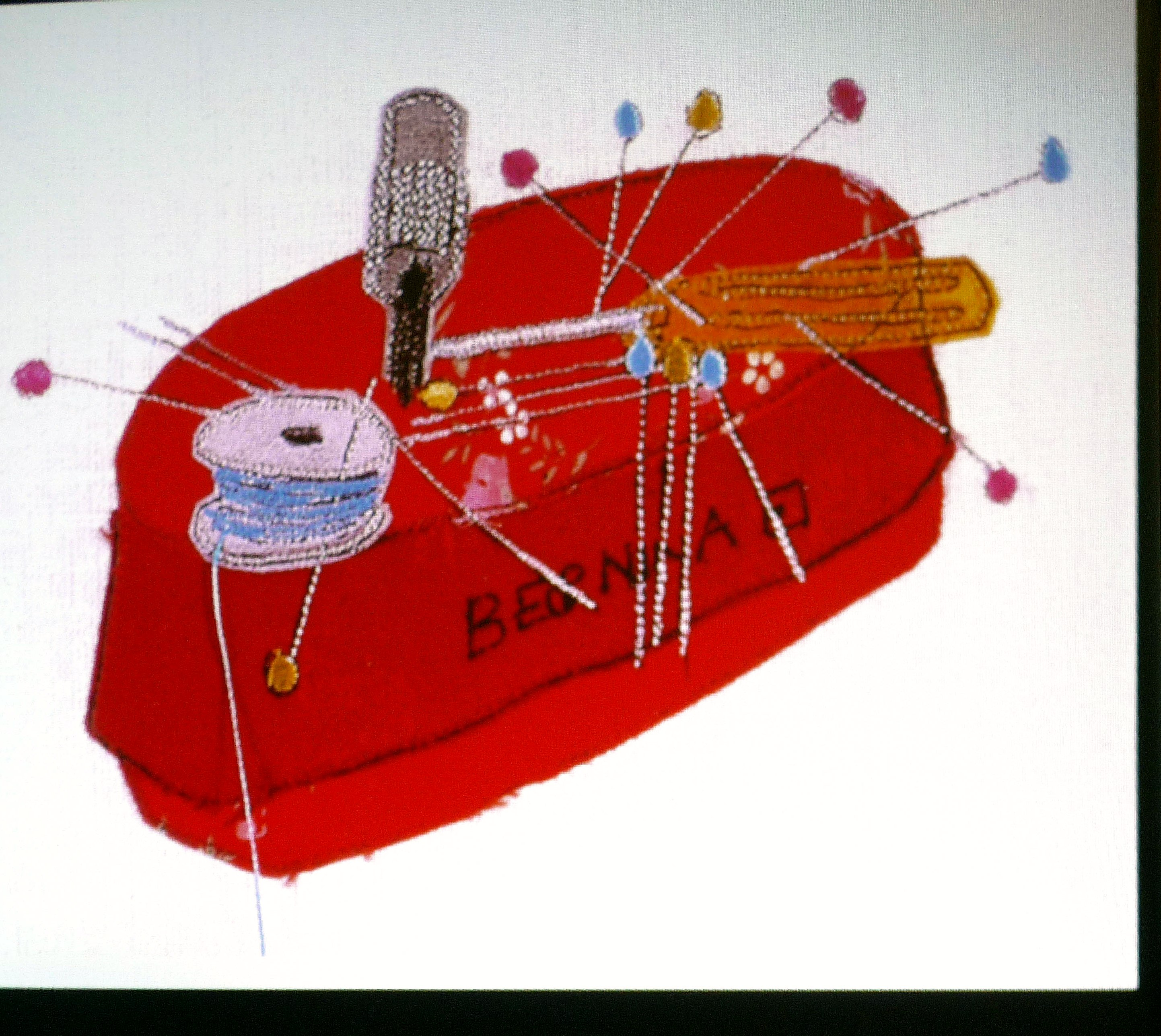 slide showing an applique embroidery by Rachael Howard