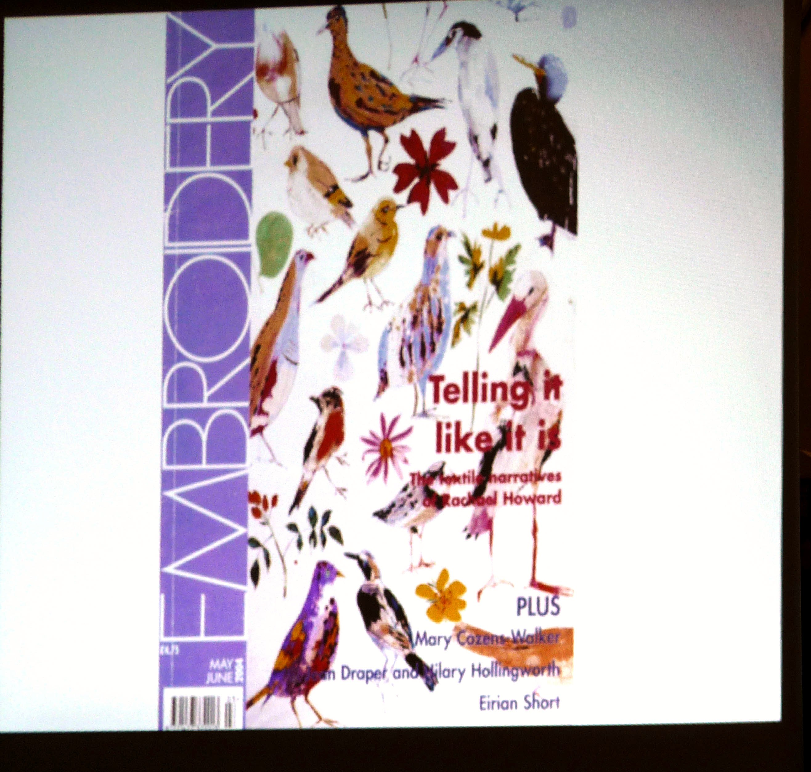 slide showing embroidery by Rachael Howard on a magazine cover