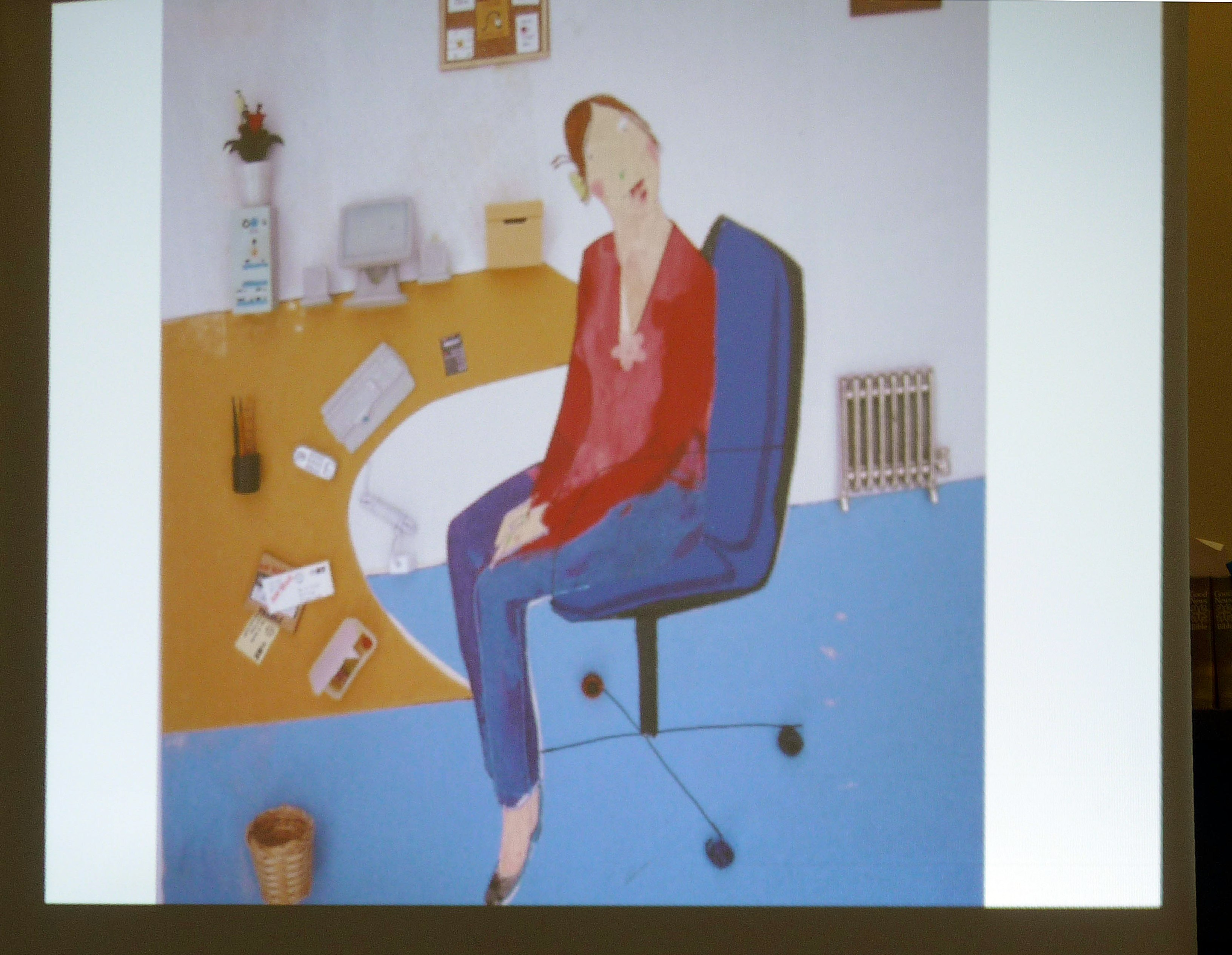slide showing an embroidery by Rachael Howard