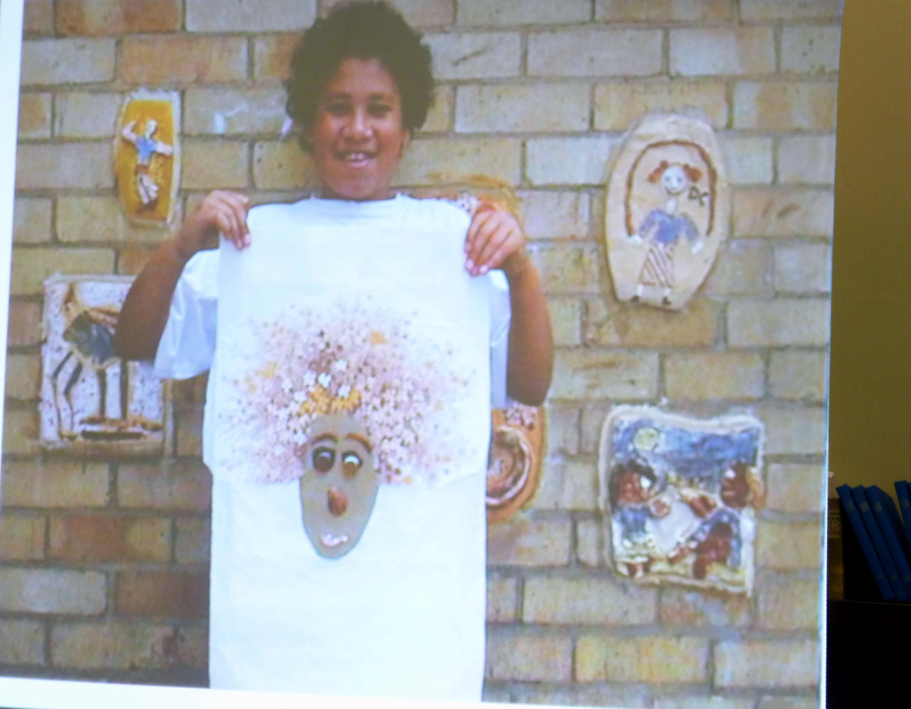slide showing work by a child at a Rachael Howard workshop