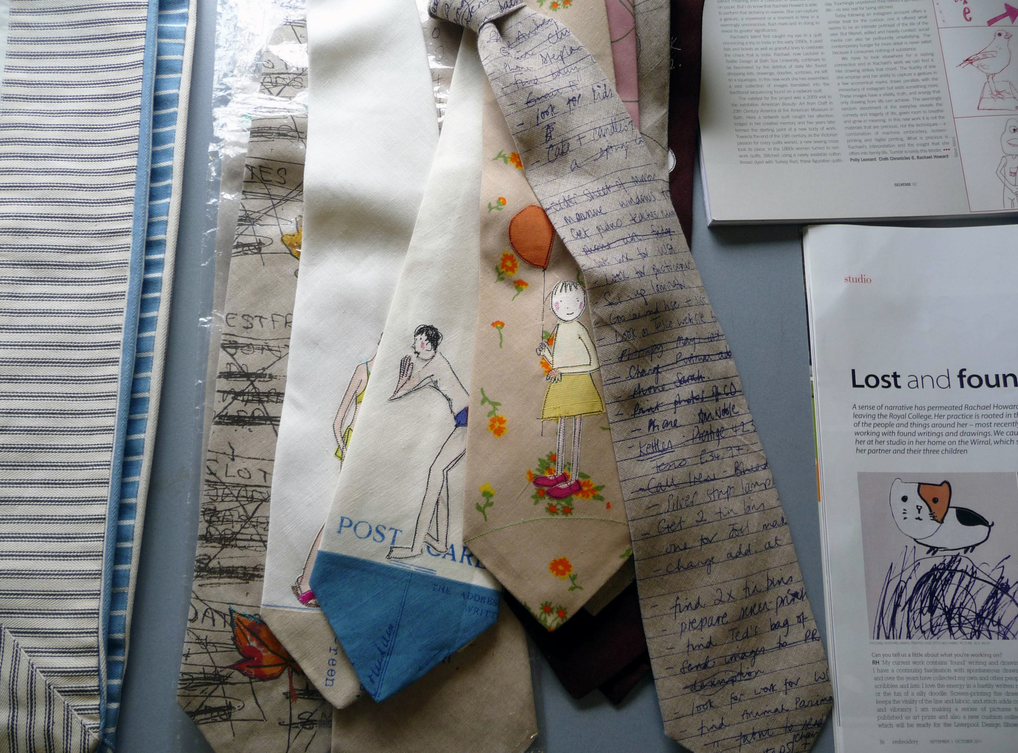 embroidered ties made by Rachael Howard