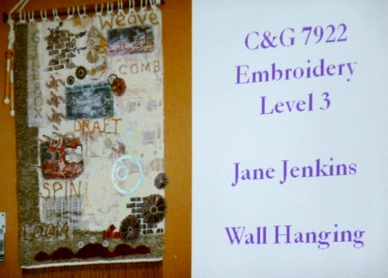 example of Level 3 City & Guilds embroidery work