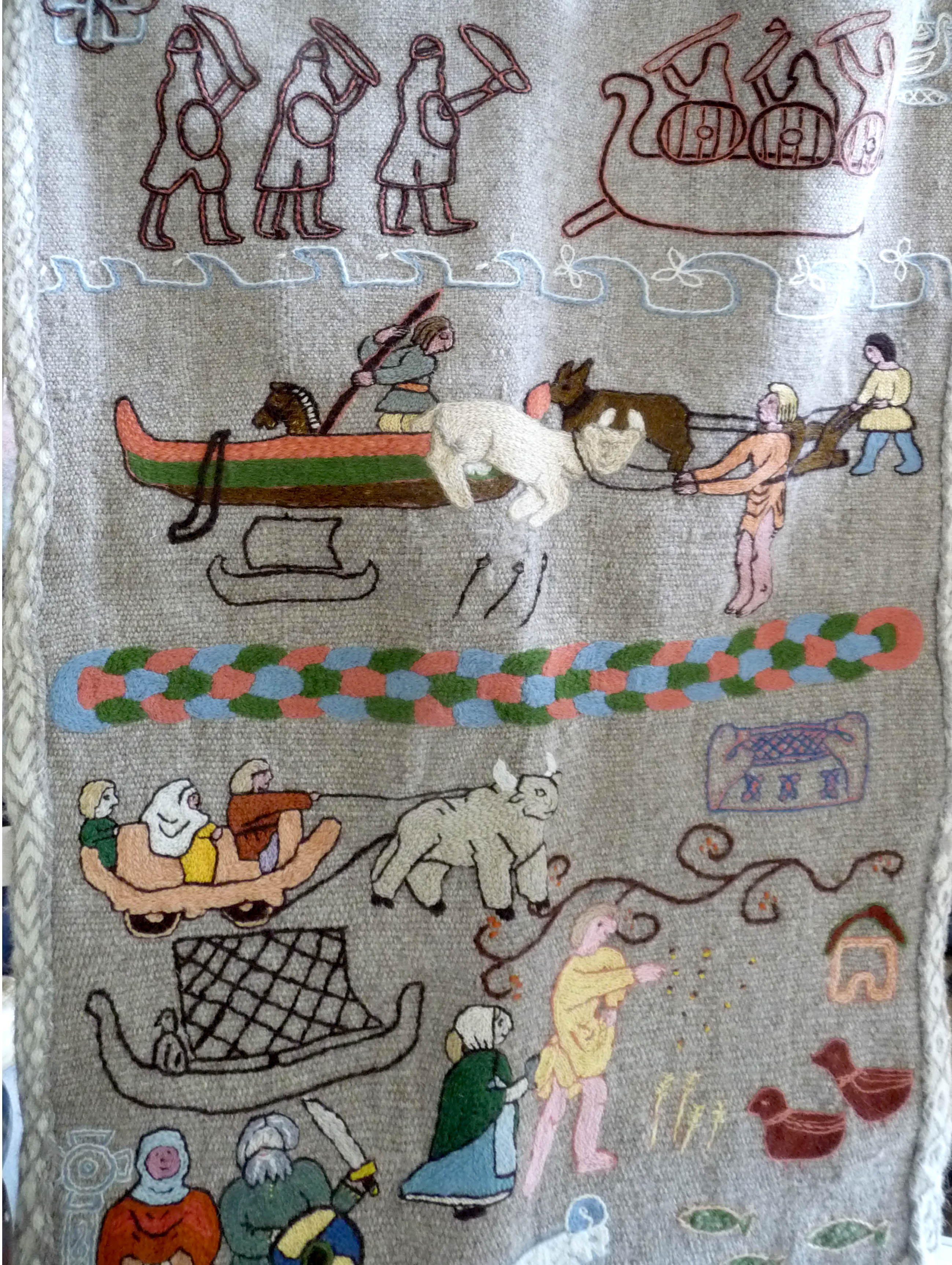 This is Snorri's Viking journey in stitch, embroidered by his wife on fabric woven on a Viking loom