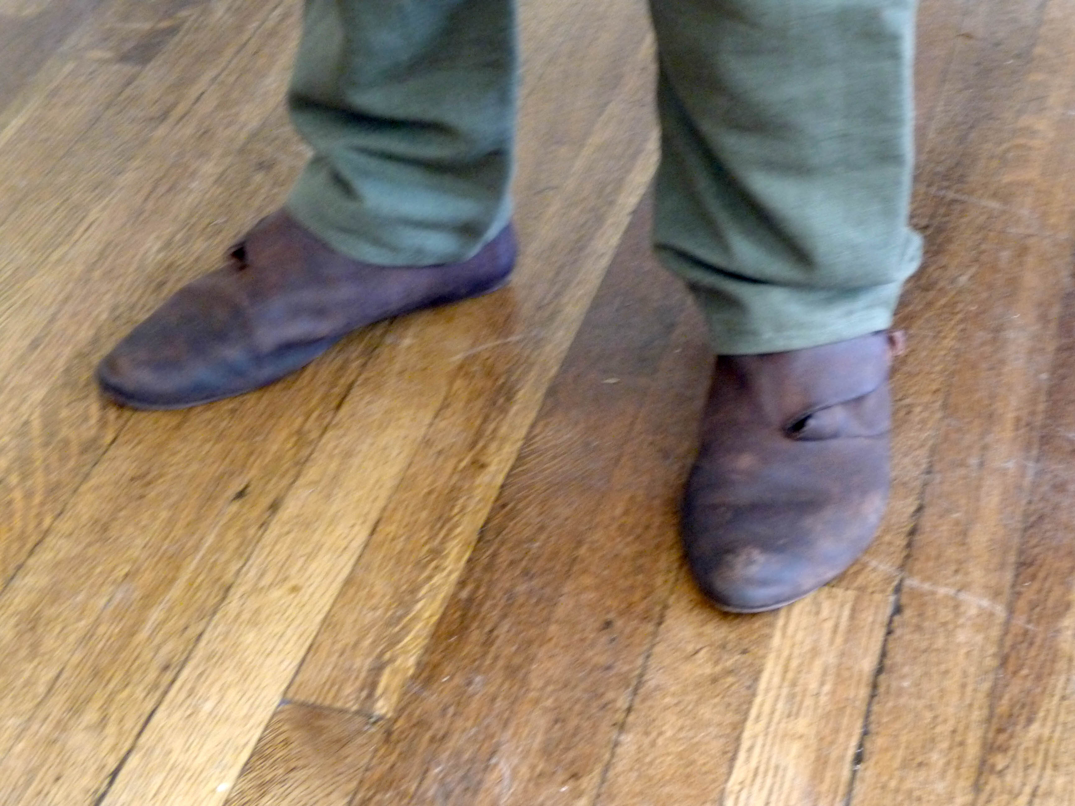 these are handmade shoes in a style a Viking might have worn